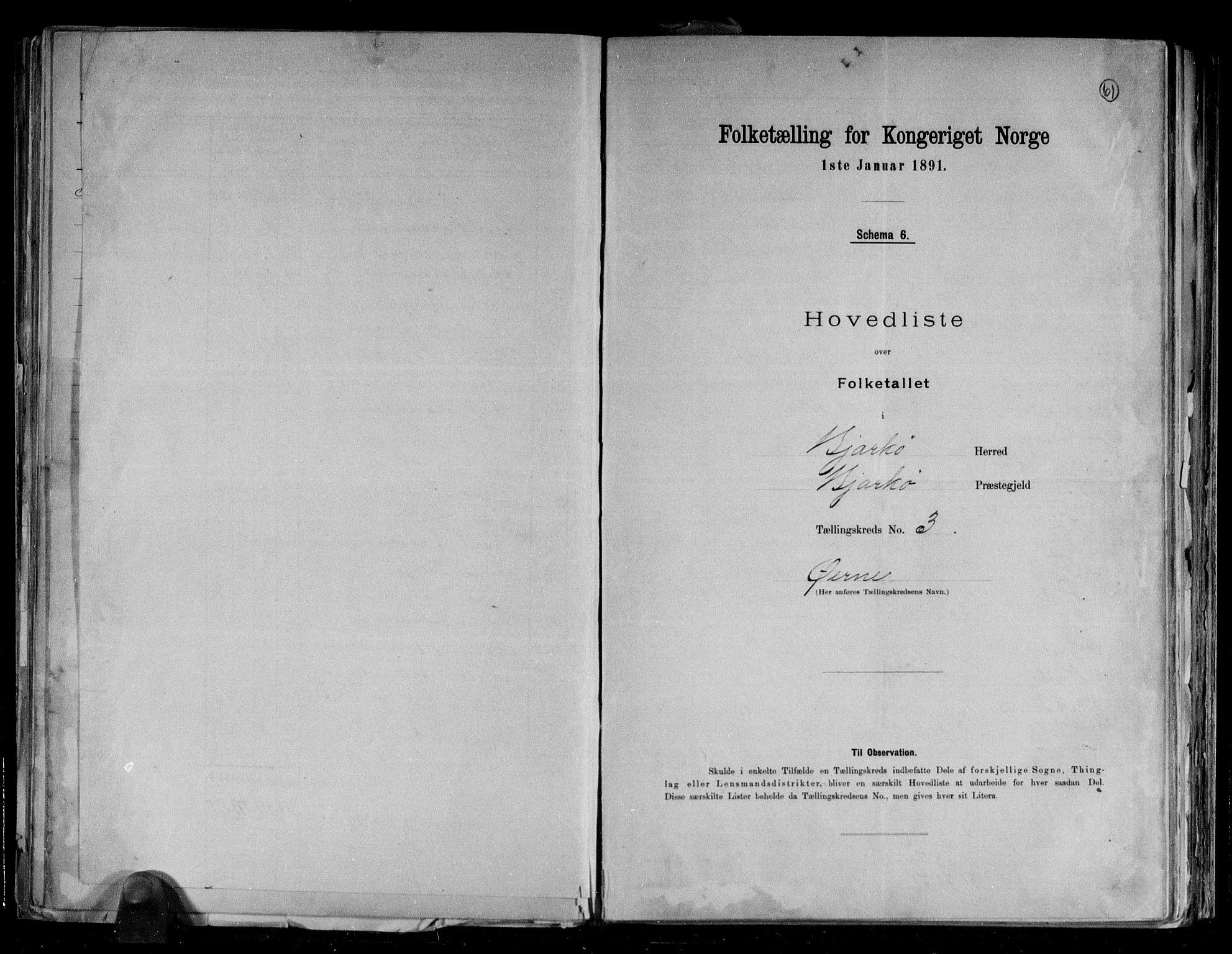 RA, Folketelling 1891 for 1915 Bjarkøy herred, 1891, s. 9