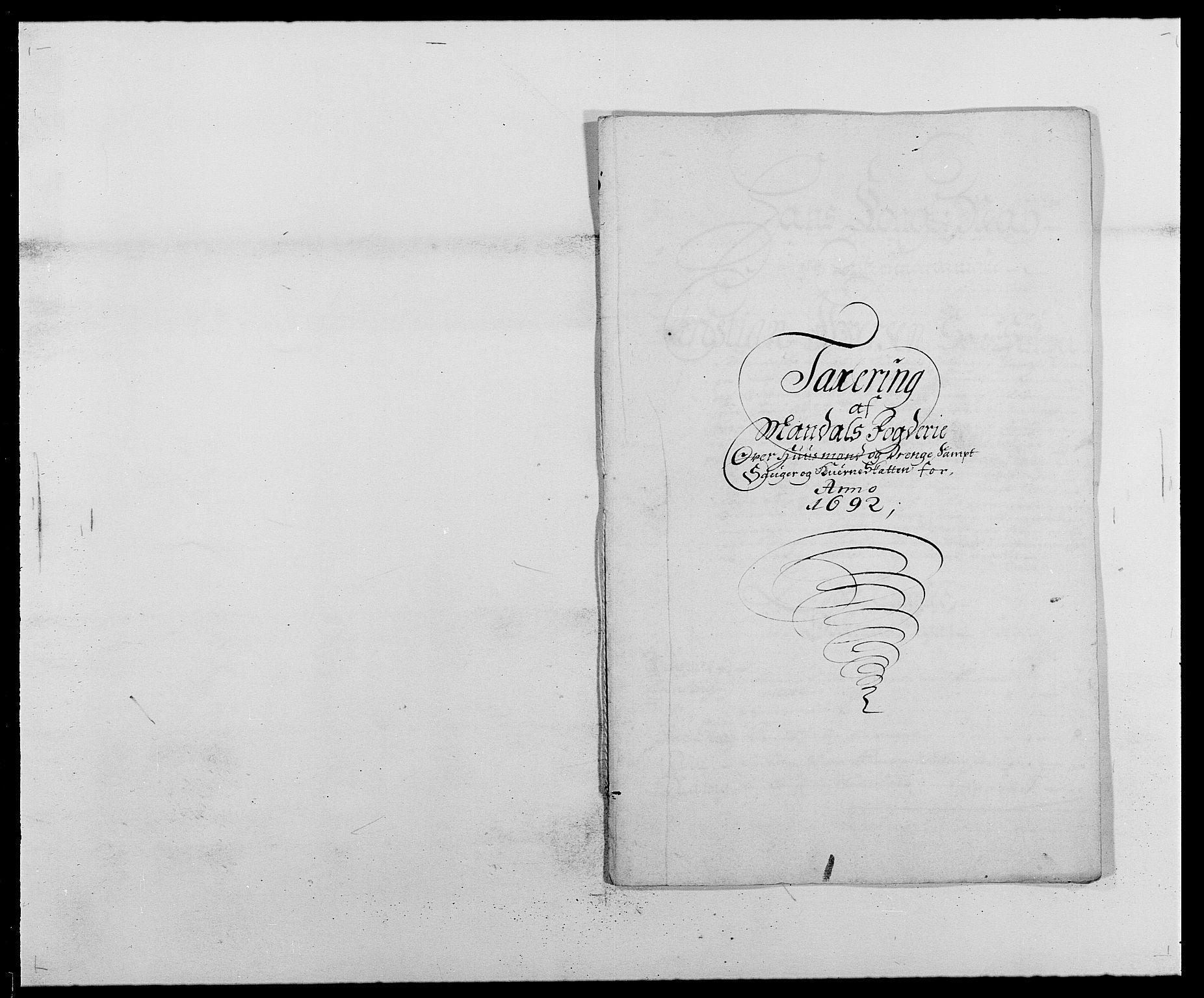 RA, Rentekammeret inntil 1814, Reviderte regnskaper, Fogderegnskap, R42/L2544: Mandal fogderi, 1692-1693, s. 40
