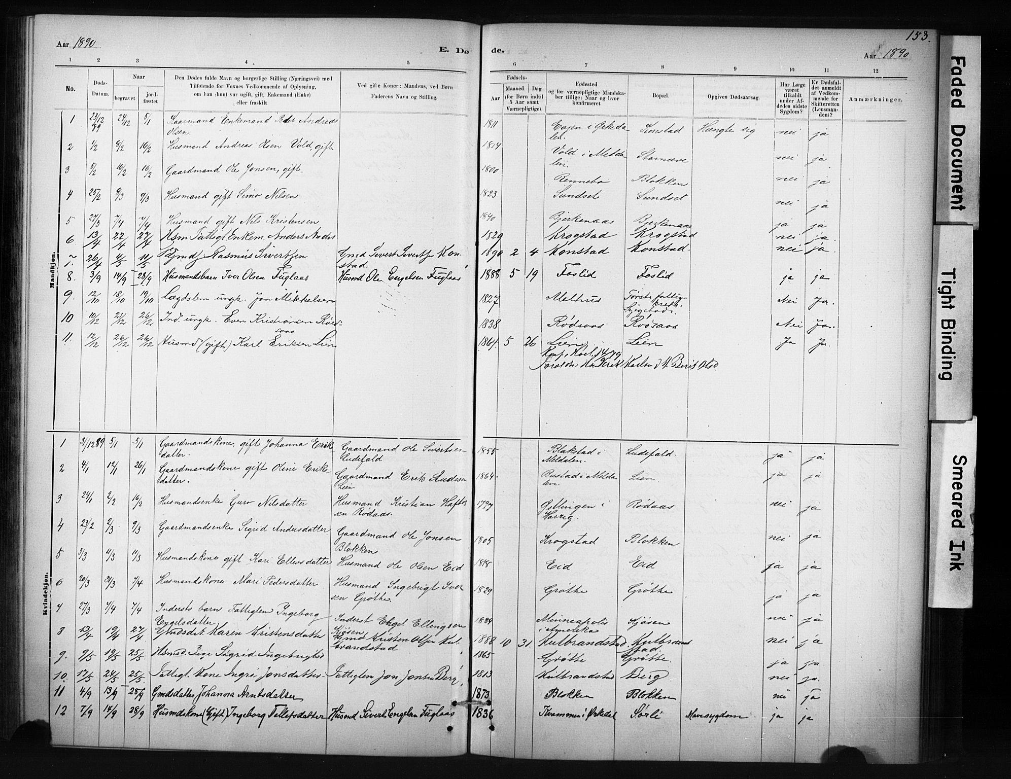 SAT, Ministerialprotokoller, klokkerbøker og fødselsregistre - Sør-Trøndelag, 694/L1127: Ministerialbok nr. 694A01, 1887-1905, s. 153