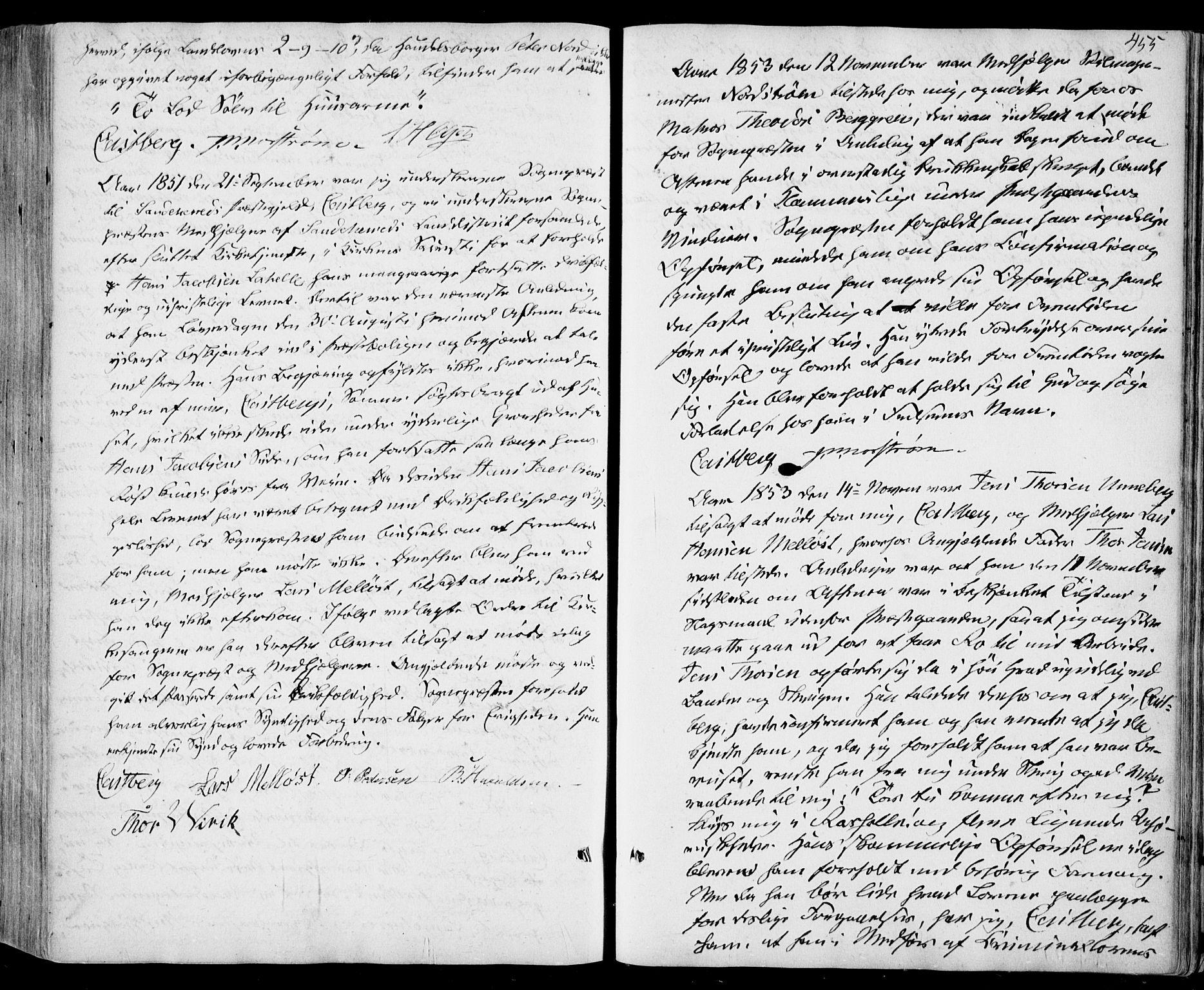 SAKO, Sandar kirkebøker, F/Fa/L0006: Ministerialbok nr. 6, 1847-1860, s. 455