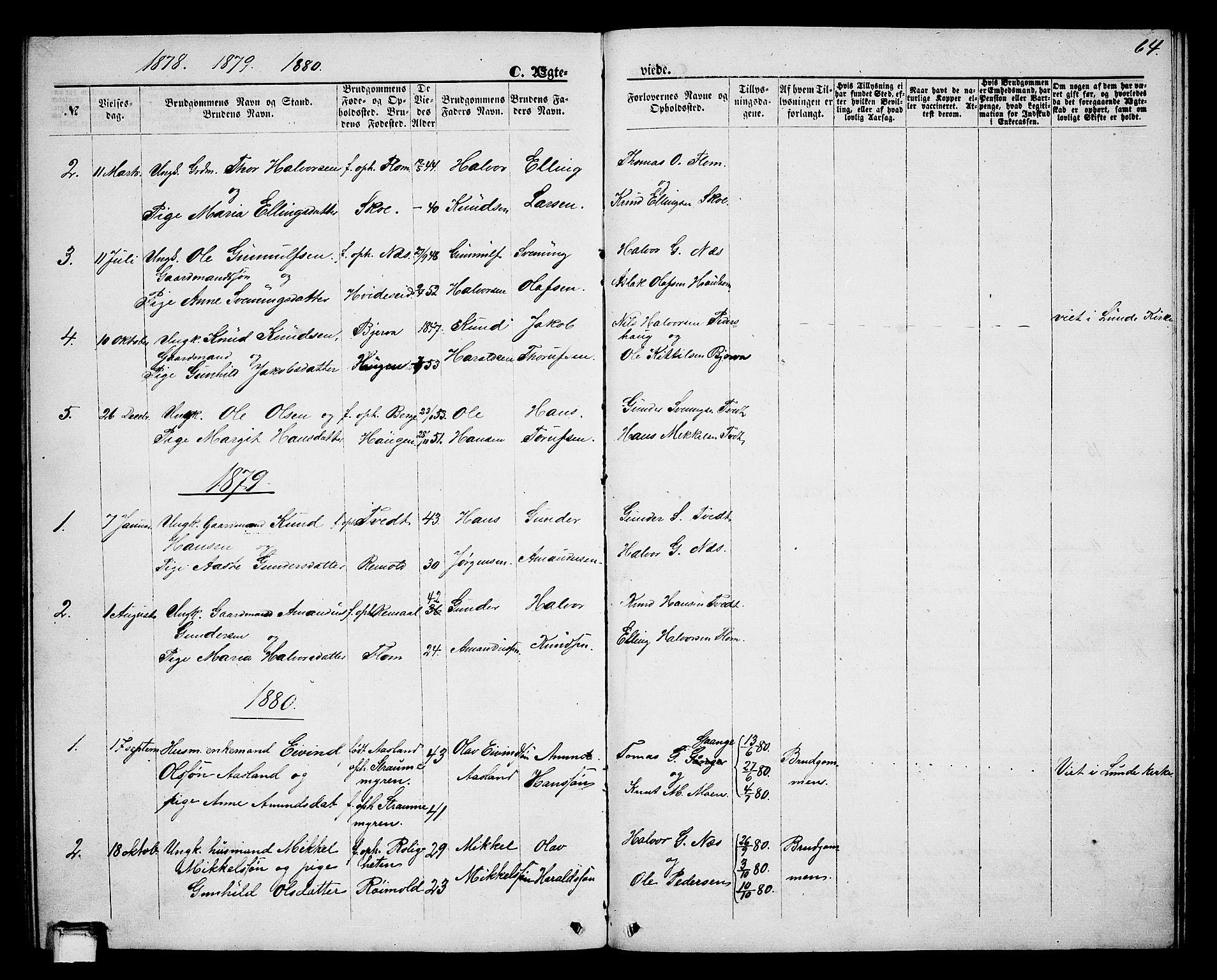 SAKO, Lunde kirkebøker, G/Gb/L0001: Klokkerbok nr. II 1, 1866-1887, s. 64