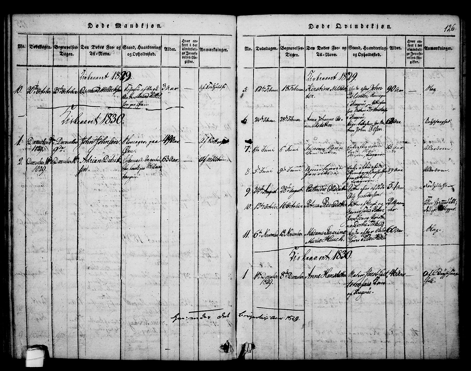 SAKO, Kragerø kirkebøker, F/Fa/L0004: Ministerialbok nr. 4, 1814-1831, s. 126