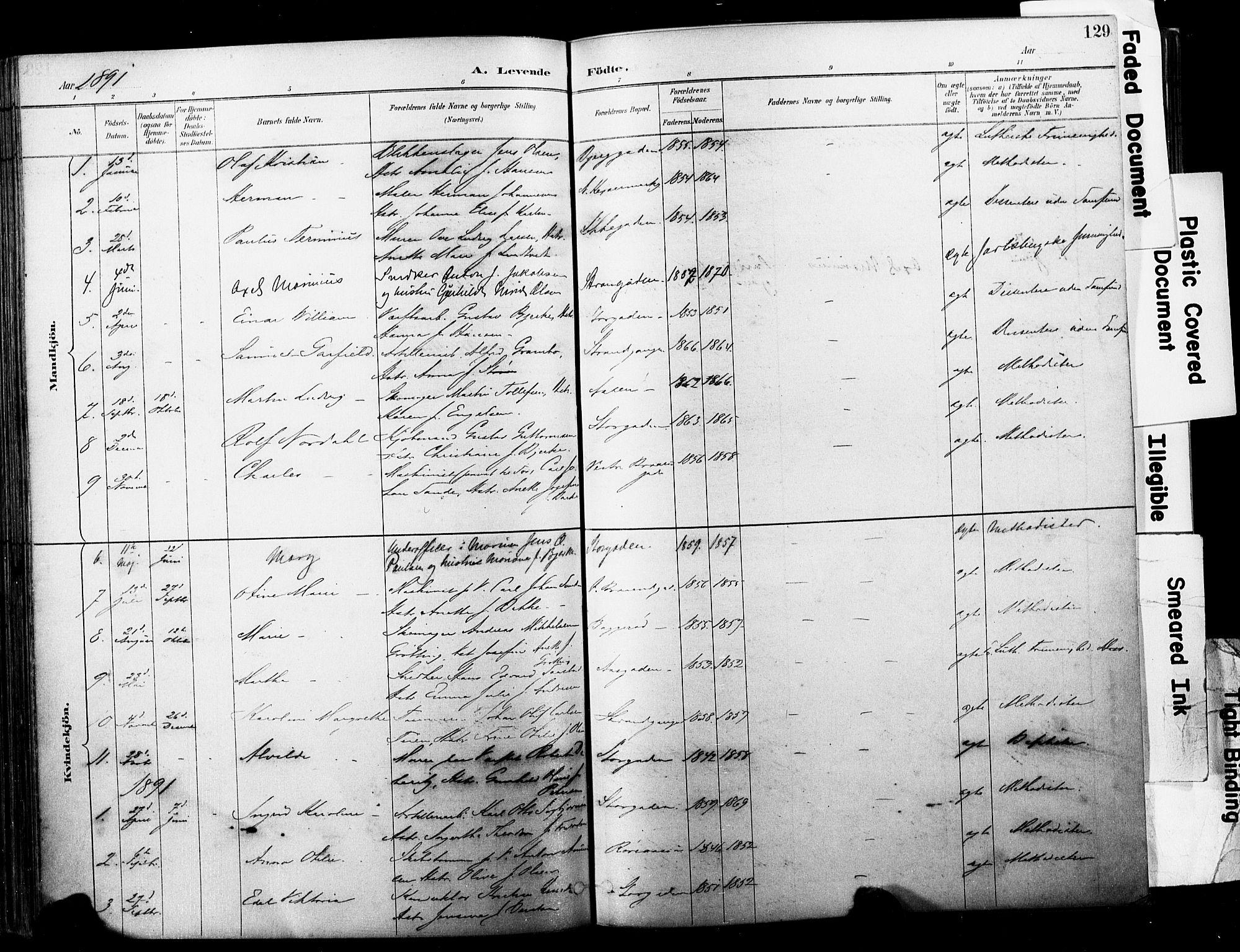 SAKO, Horten kirkebøker, F/Fa/L0004: Ministerialbok nr. 4, 1888-1895, s. 129