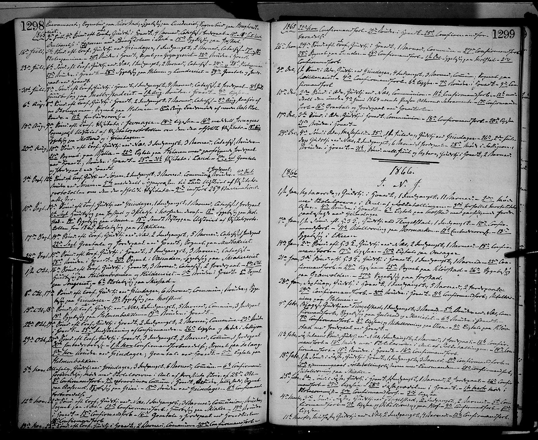 SAH, Gran prestekontor, Ministerialbok nr. 12, 1856-1874, s. 1298-1299