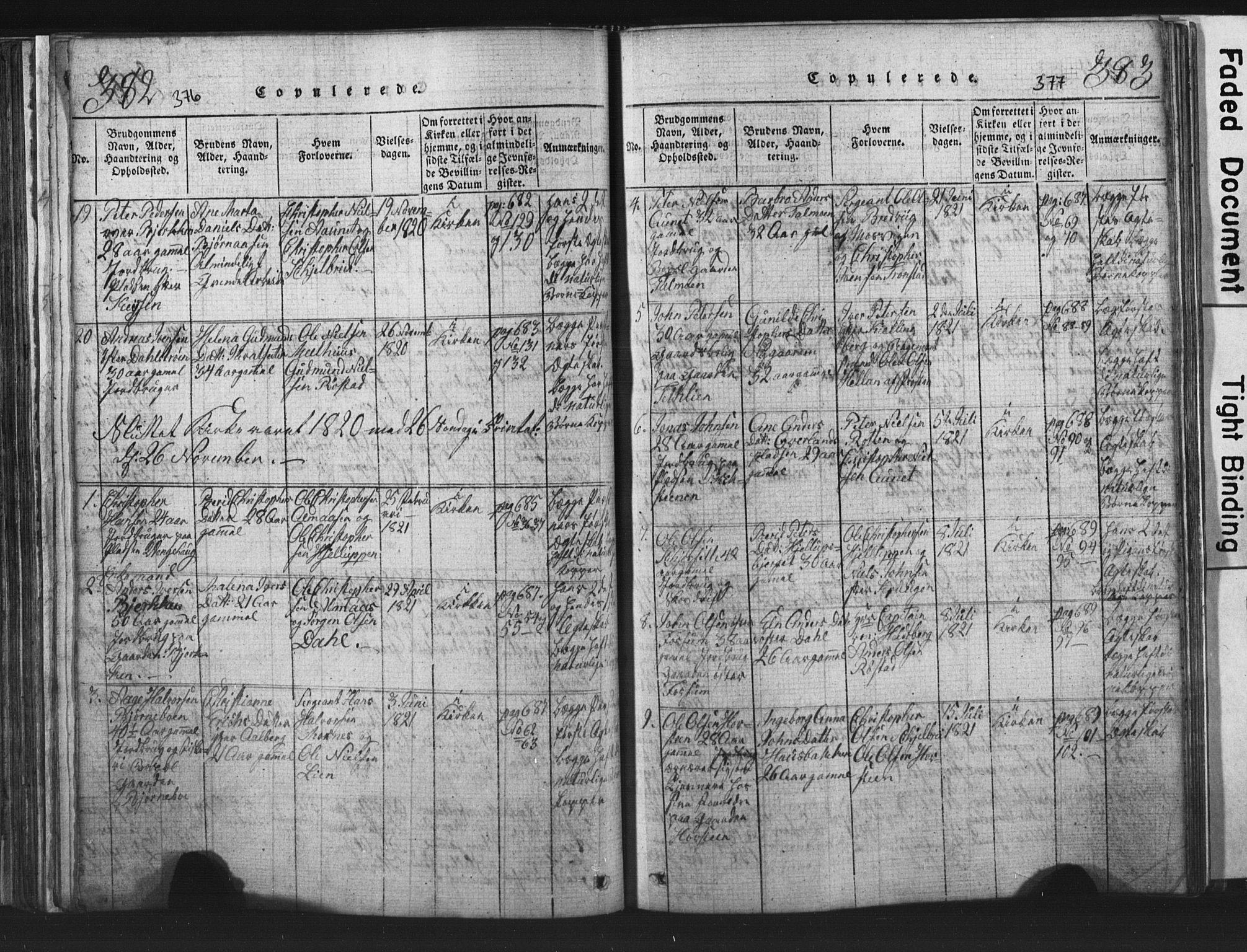 SAT, Ministerialprotokoller, klokkerbøker og fødselsregistre - Nord-Trøndelag, 701/L0017: Klokkerbok nr. 701C01, 1817-1825, s. 376-377
