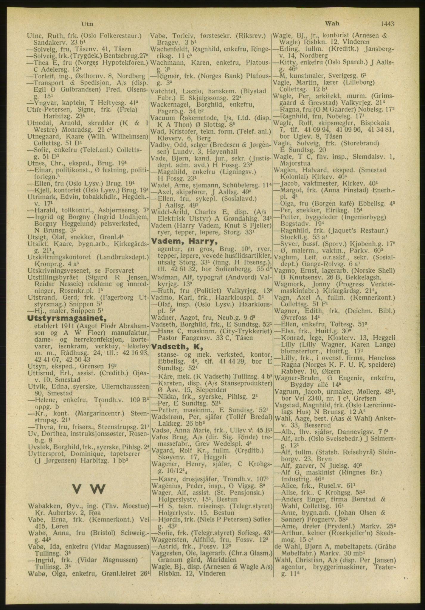 PUBL, Kristiania/Oslo adressebok, 1951, s. 1443