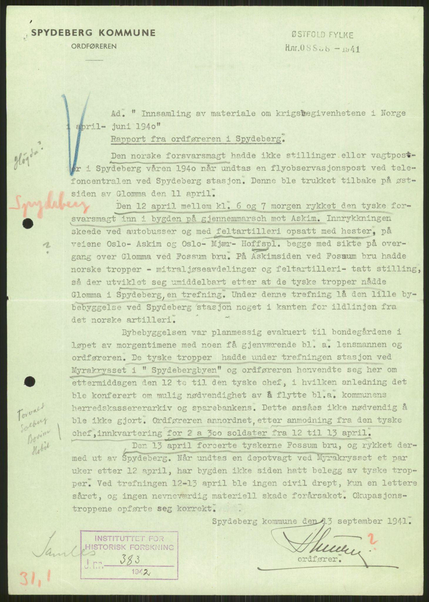 RA, Forsvaret, Forsvarets krigshistoriske avdeling, Y/Ya/L0013: II-C-11-31 - Fylkesmenn.  Rapporter om krigsbegivenhetene 1940., 1940, s. 84