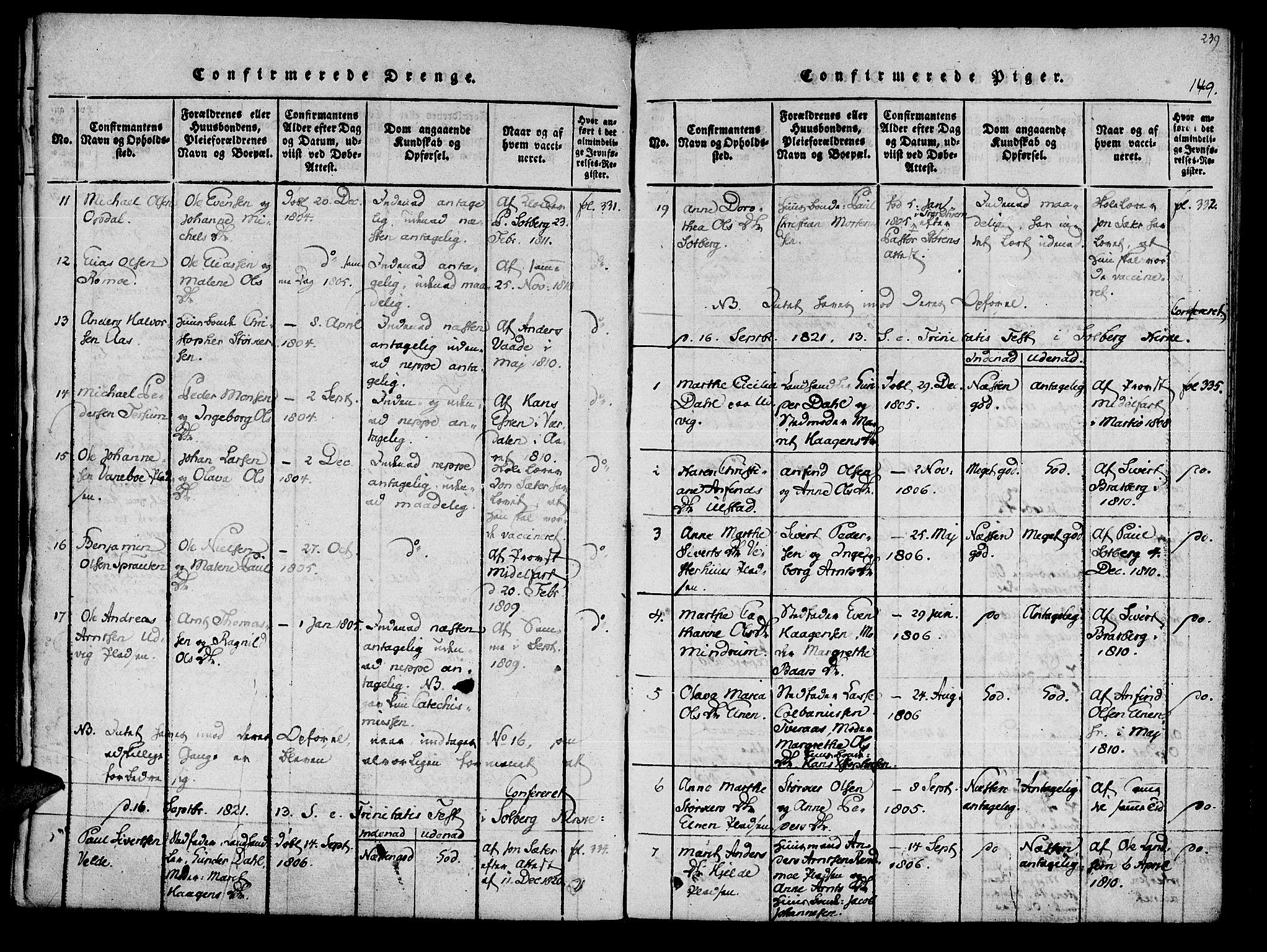 SAT, Ministerialprotokoller, klokkerbøker og fødselsregistre - Nord-Trøndelag, 741/L0387: Ministerialbok nr. 741A03 /1, 1817-1822, s. 149