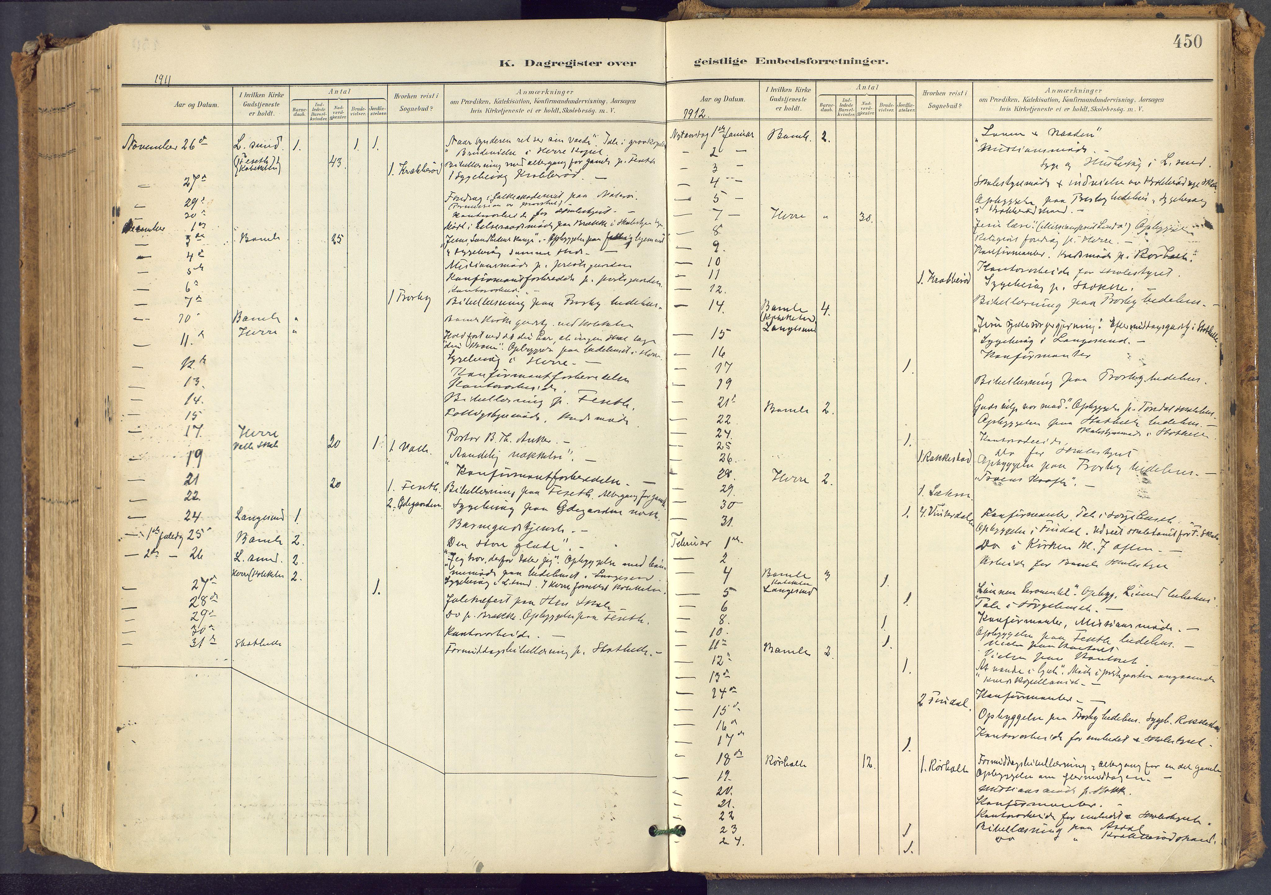 SAKO, Bamble kirkebøker, F/Fa/L0009: Ministerialbok nr. I 9, 1901-1917, s. 450