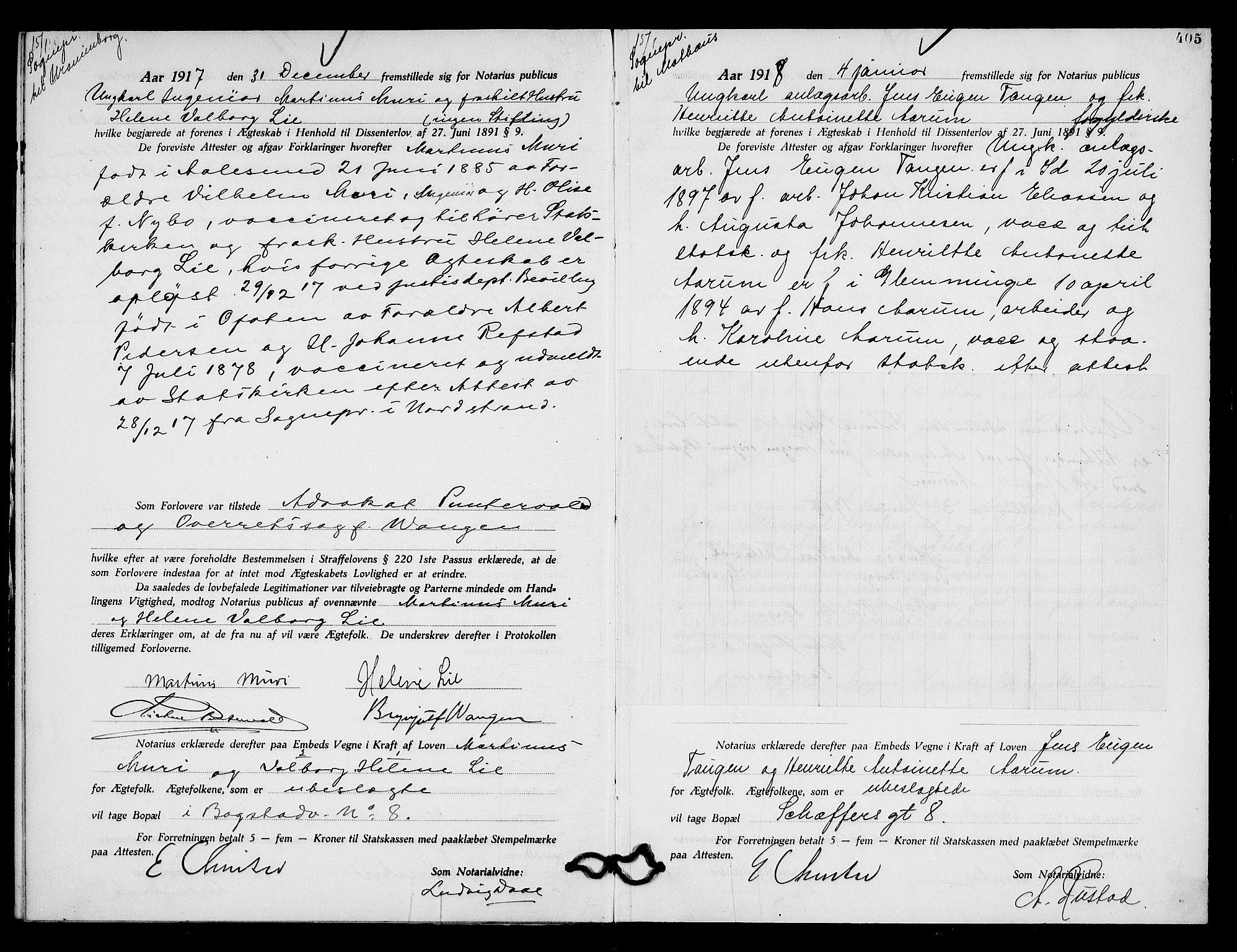 SAO, Oslo byfogd avd. I, L/Lb/Lbb/L0011: Notarialprotokoll, rekke II: Vigsler, 1916-1918, s. 404b-405a