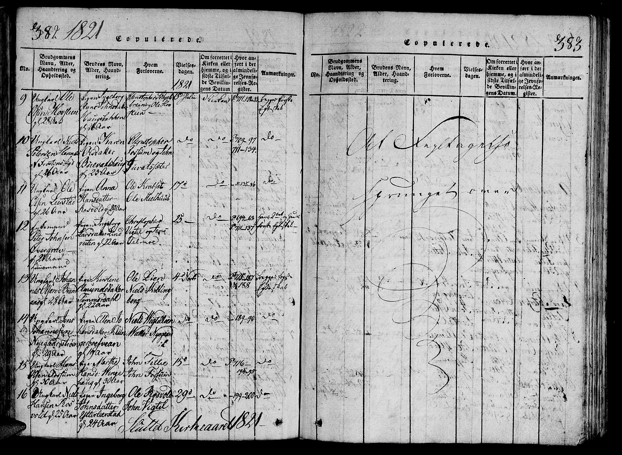 SAT, Ministerialprotokoller, klokkerbøker og fødselsregistre - Nord-Trøndelag, 701/L0005: Ministerialbok nr. 701A05 /1, 1816-1825, s. 382-383