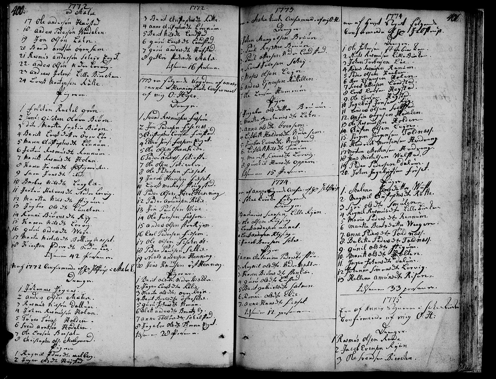 SAT, Ministerialprotokoller, klokkerbøker og fødselsregistre - Nord-Trøndelag, 735/L0331: Ministerialbok nr. 735A02, 1762-1794, s. 400-401