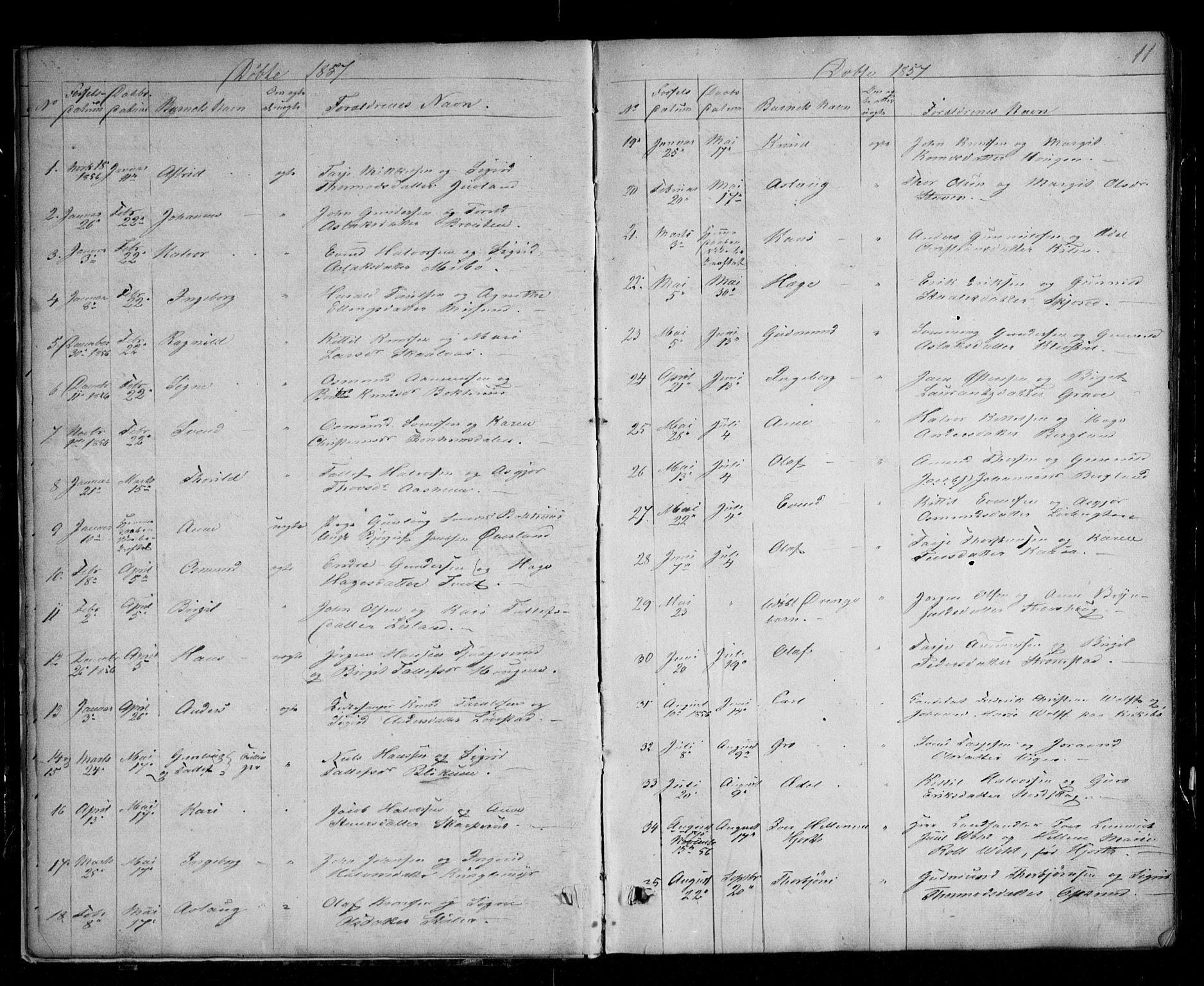 SAKO, Kviteseid kirkebøker, G/Ga/L0001: Klokkerbok nr. I 1, 1850-1893, s. 11
