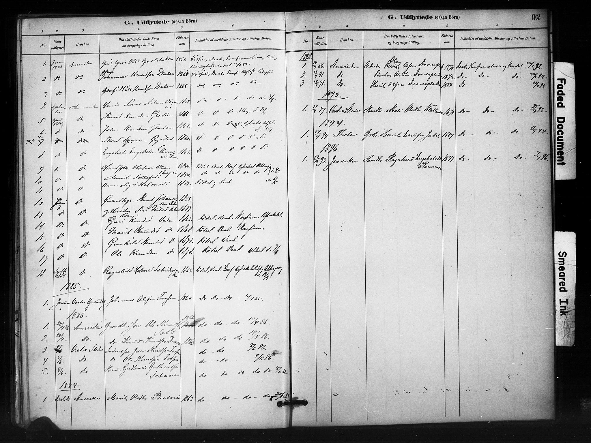 SAH, Nord-Aurdal prestekontor, Ministerialbok nr. 12, 1883-1895, s. 92