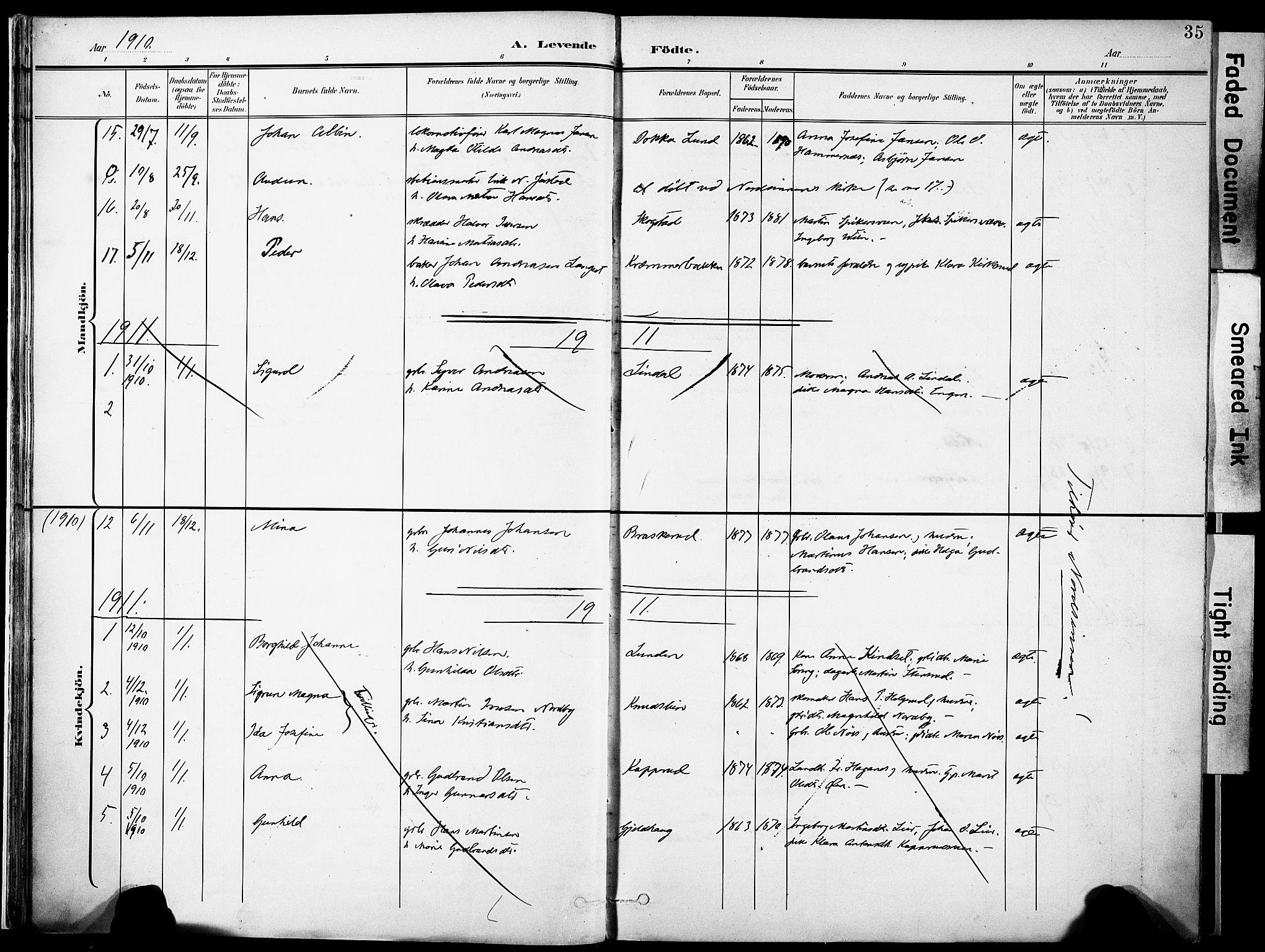 SAH, Nordre Land prestekontor, Ministerialbok nr. 6, 1897-1914, s. 35