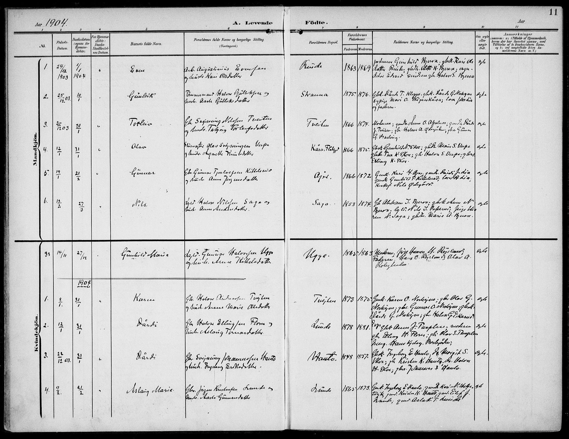 SAKO, Lunde kirkebøker, F/Fa/L0004: Ministerialbok nr. I 4, 1902-1913, s. 11