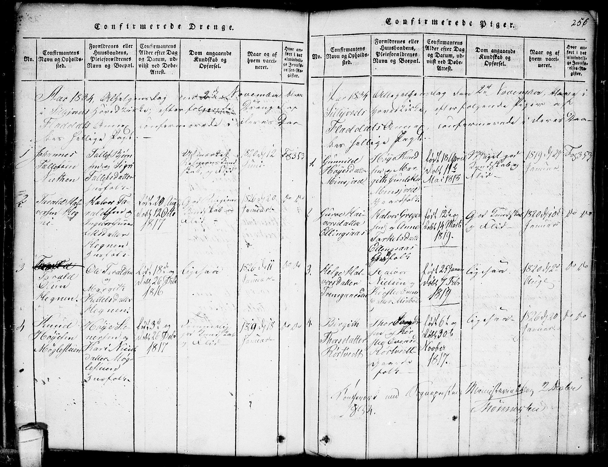 SAKO, Seljord kirkebøker, G/Gb/L0002: Klokkerbok nr. II 2, 1815-1854, s. 256