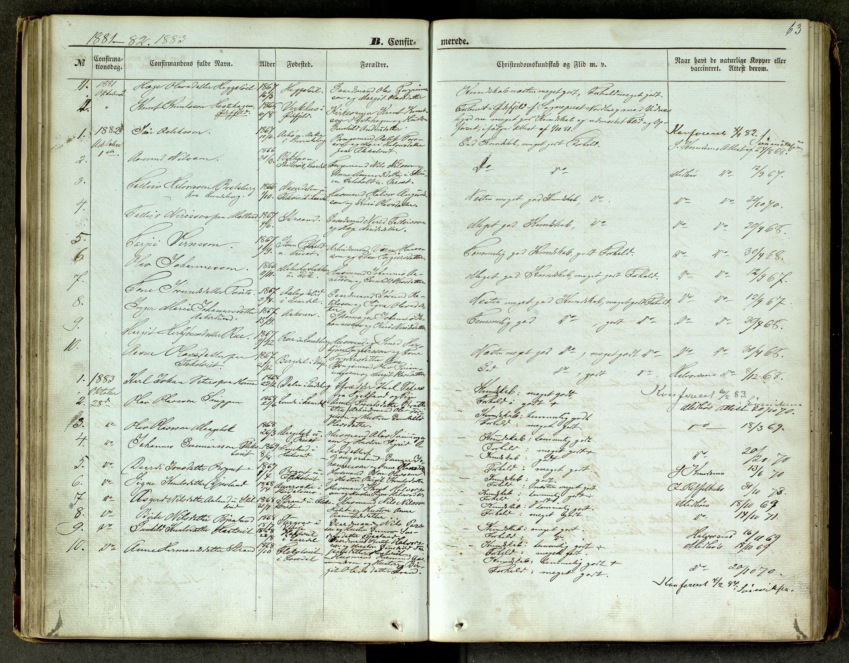 SAKO, Lårdal kirkebøker, G/Ga/L0002: Klokkerbok nr. I 2, 1861-1890, s. 63