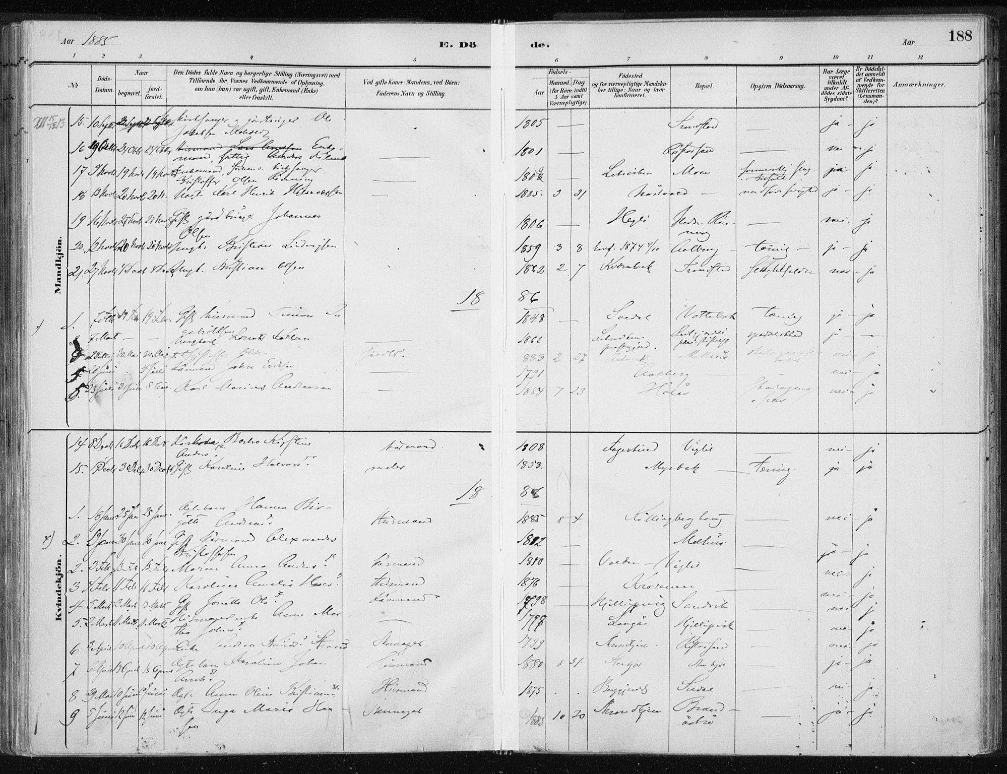 SAT, Ministerialprotokoller, klokkerbøker og fødselsregistre - Nord-Trøndelag, 701/L0010: Ministerialbok nr. 701A10, 1883-1899, s. 188