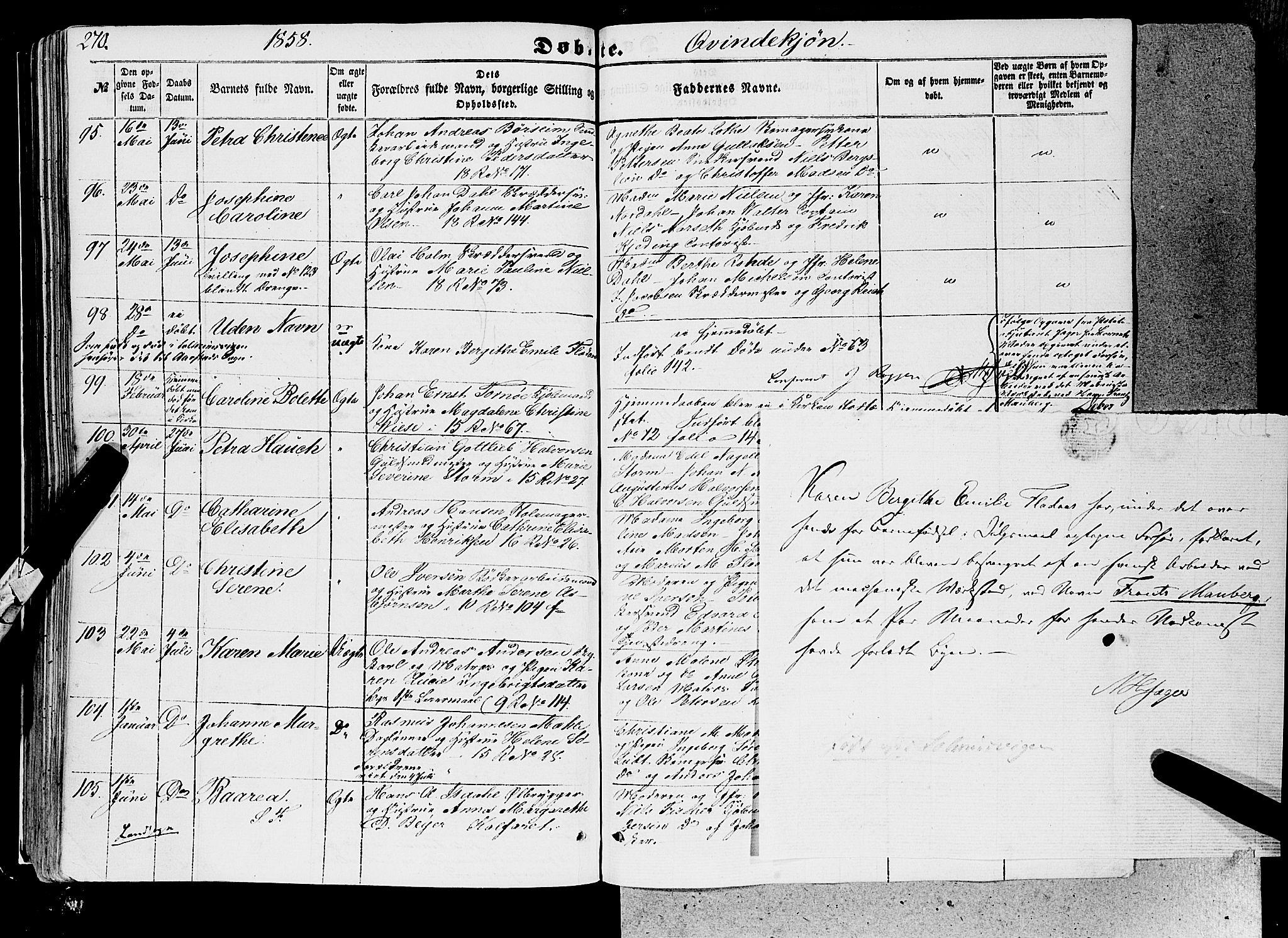 SAB, Domkirken Sokneprestembete, H/Haa/L0020: Ministerialbok nr. B 3, 1851-1859, s. 270