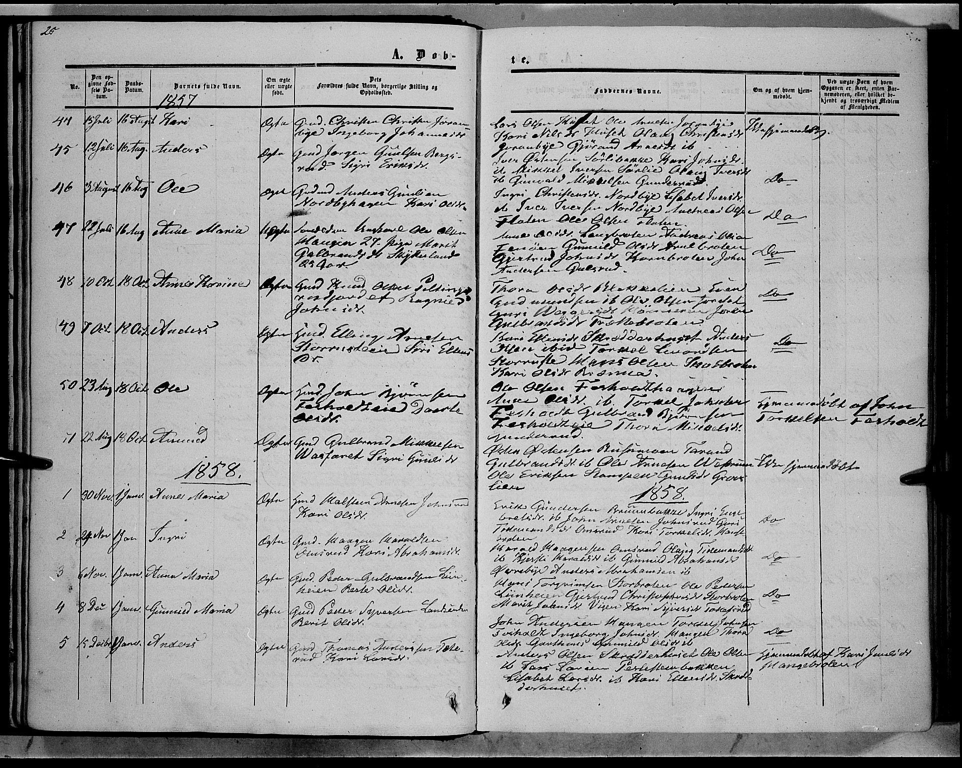 SAH, Sør-Aurdal prestekontor, Ministerialbok nr. 7, 1849-1876, s. 25