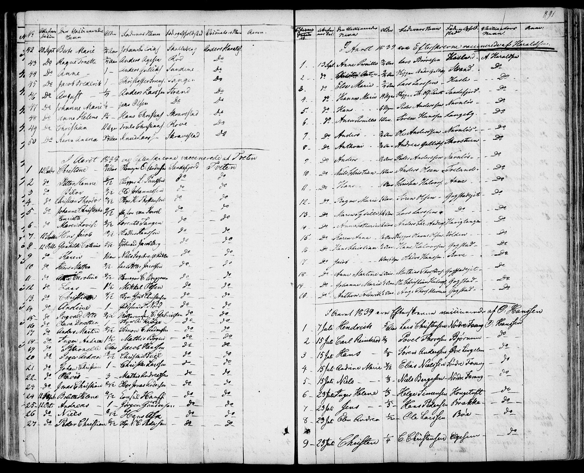 SAKO, Sandar kirkebøker, F/Fa/L0005: Ministerialbok nr. 5, 1832-1847, s. 890-891