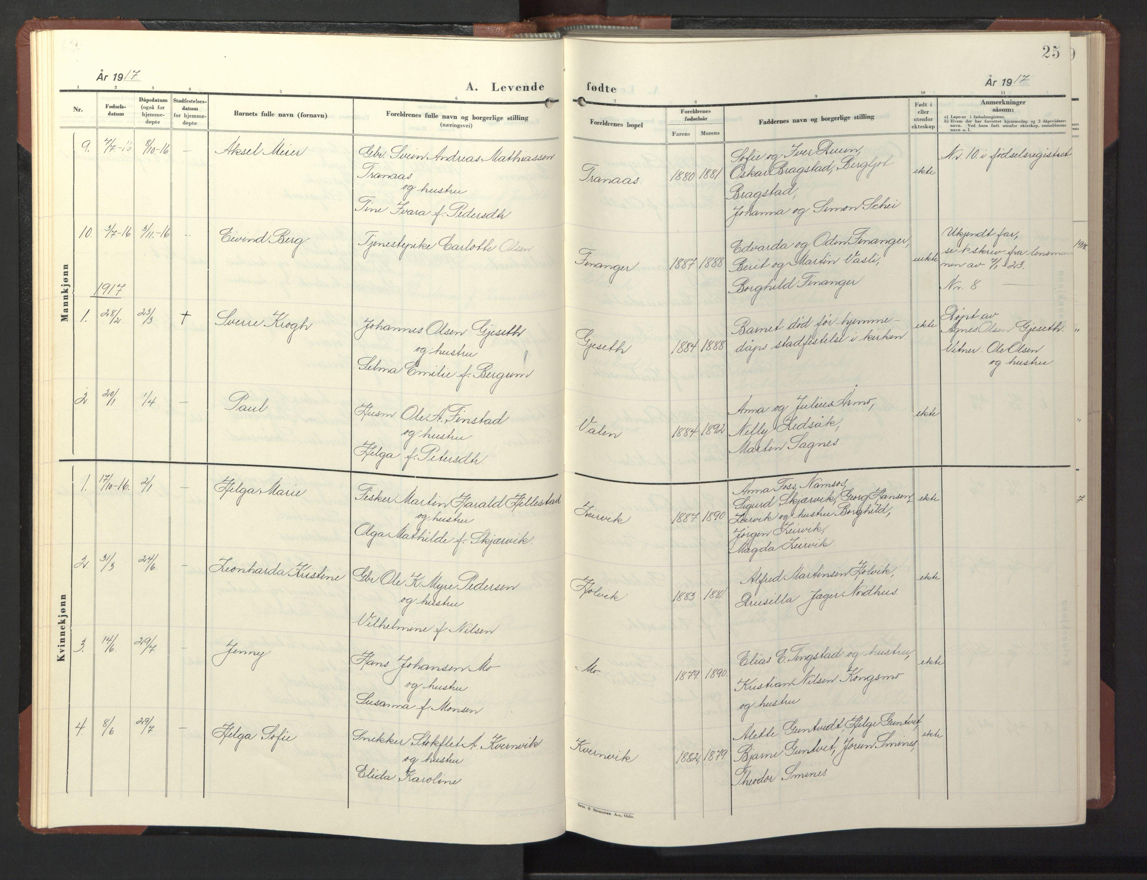SAT, Ministerialprotokoller, klokkerbøker og fødselsregistre - Nord-Trøndelag, 773/L0625: Klokkerbok nr. 773C01, 1910-1952, s. 25