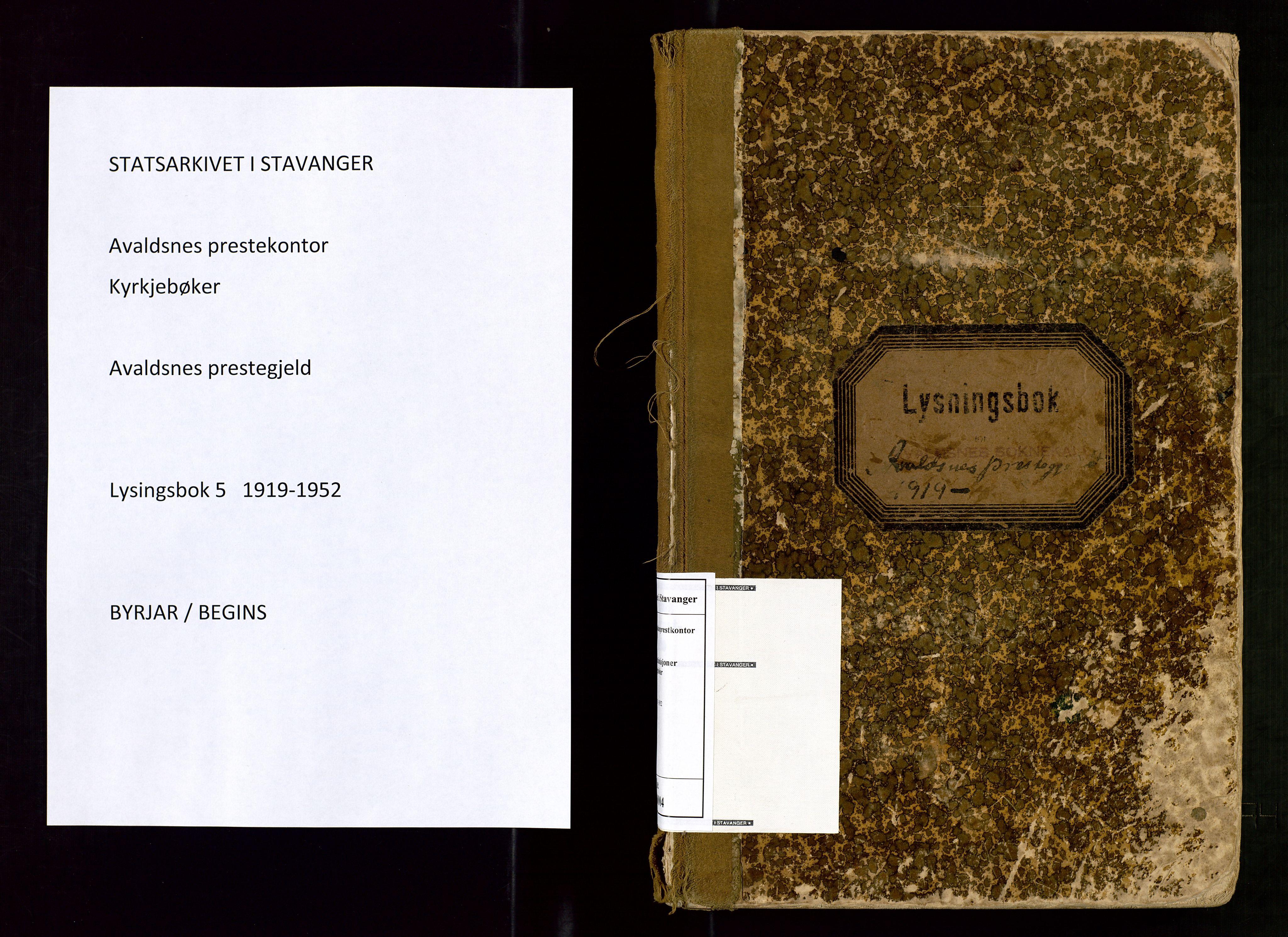 SAST, Lysningsprotokoll nr. 5, 1919-1952