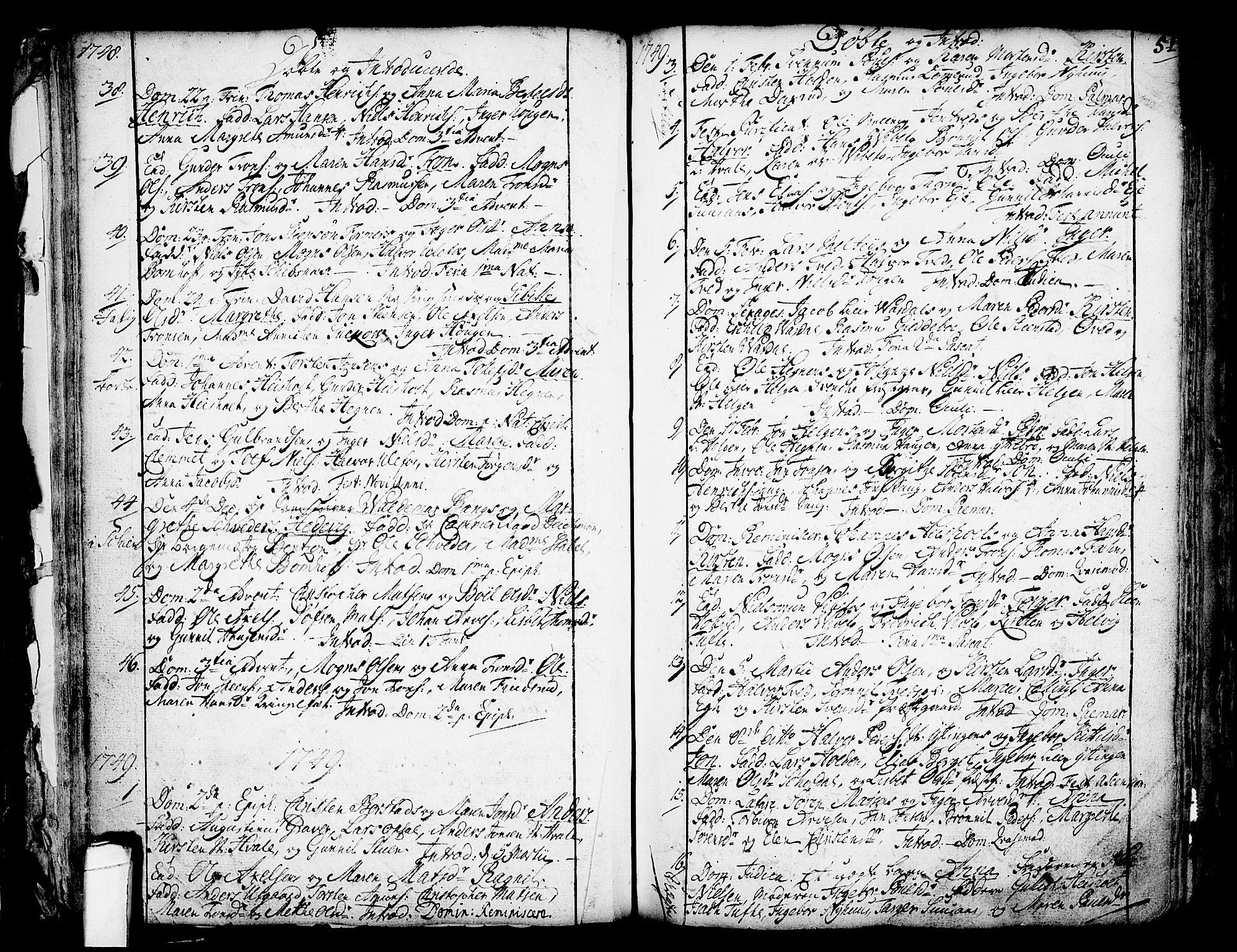 SAKO, Holla kirkebøker, F/Fa/L0001: Ministerialbok nr. 1, 1717-1779, s. 51