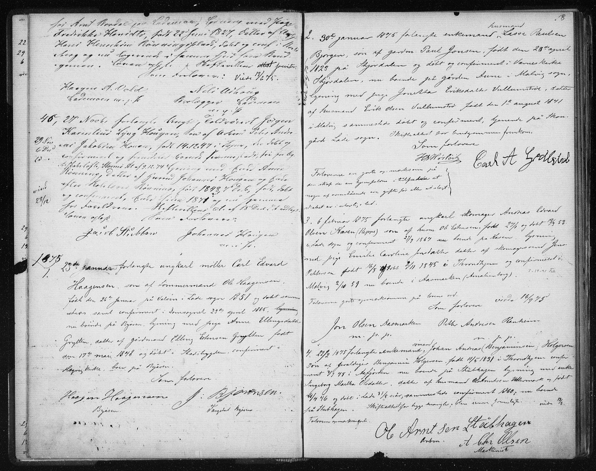 SAT, Ministerialprotokoller, klokkerbøker og fødselsregistre - Sør-Trøndelag, 606/L0299: Lysningsprotokoll nr. 606A14, 1873-1889, s. 18