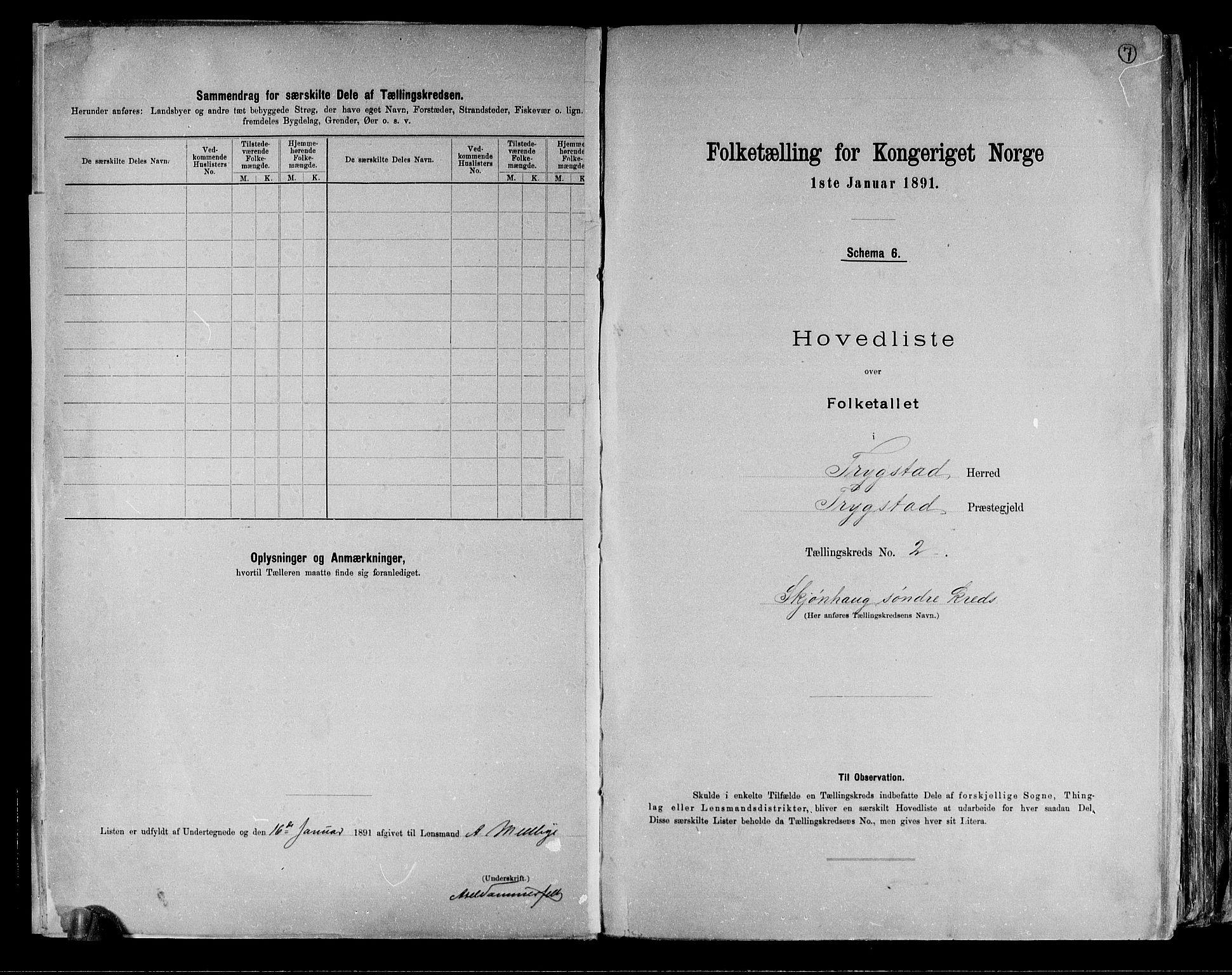 RA, Folketelling 1891 for 0122 Trøgstad herred, 1891, s. 7