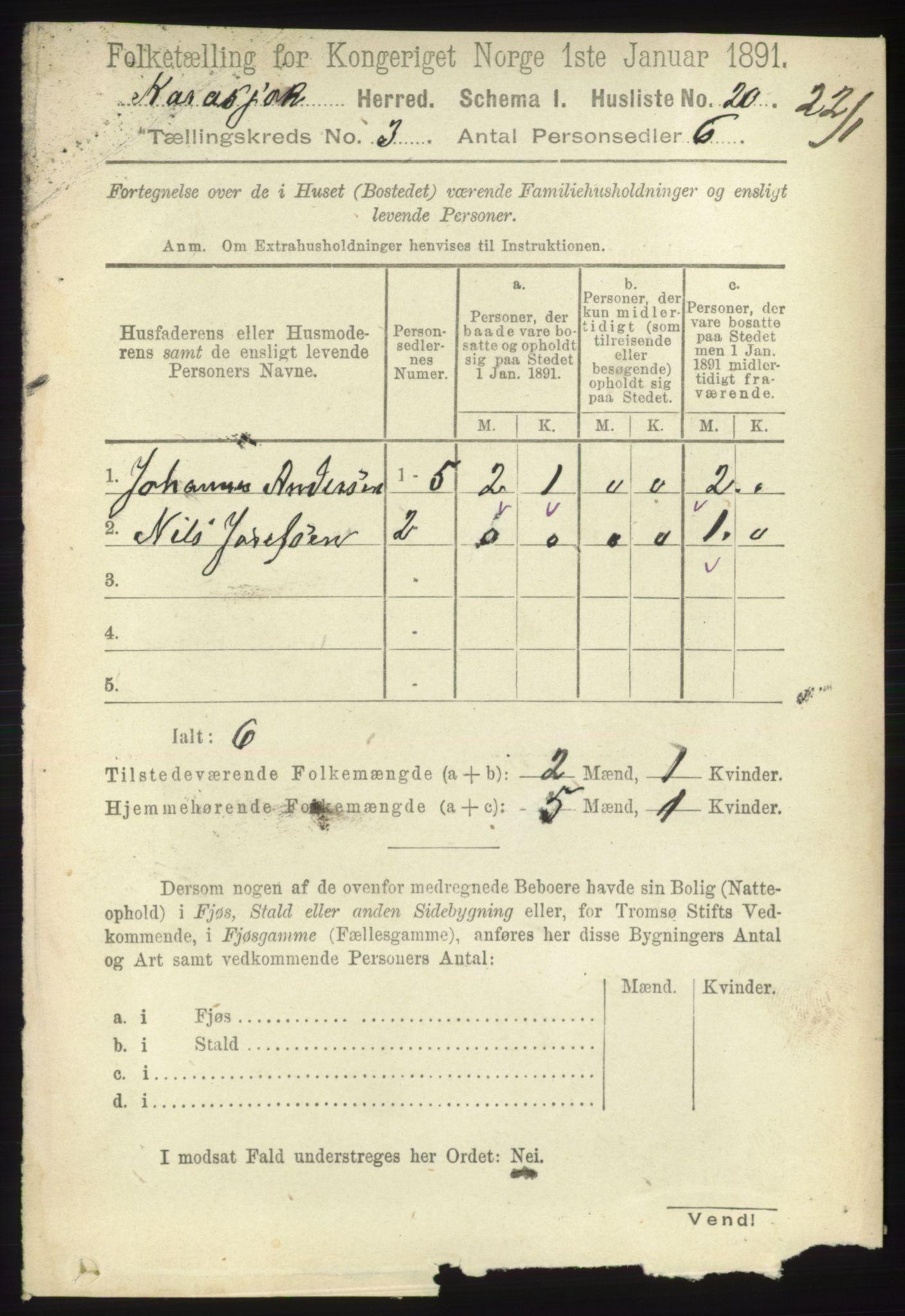 RA, Folketelling 1891 for 2021 Karasjok herred, 1891, s. 551