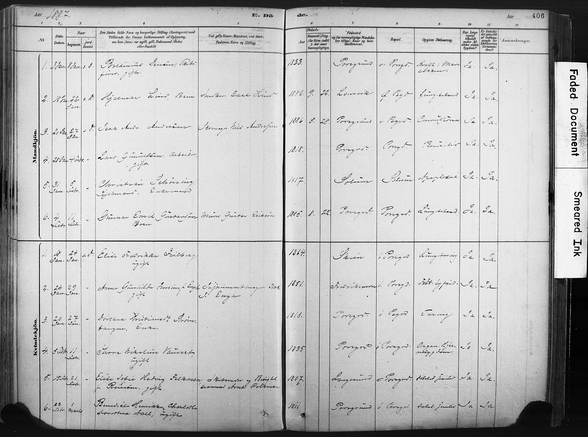 SAKO, Porsgrunn kirkebøker , F/Fa/L0008: Ministerialbok nr. 8, 1878-1895, s. 406