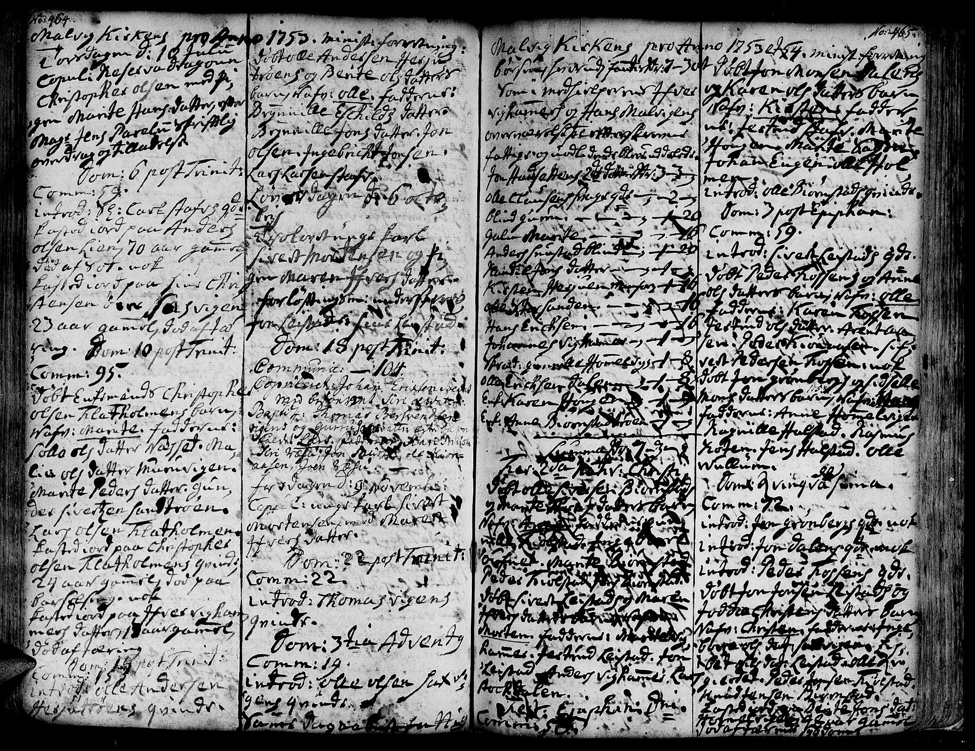 SAT, Ministerialprotokoller, klokkerbøker og fødselsregistre - Sør-Trøndelag, 606/L0277: Ministerialbok nr. 606A01 /3, 1727-1780, s. 464-465