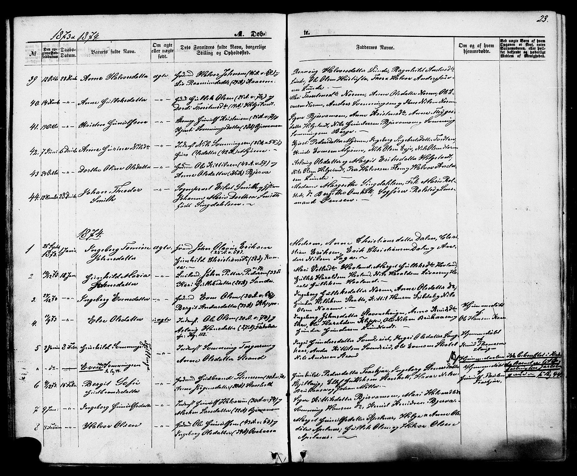 SAKO, Lunde kirkebøker, F/Fa/L0001: Ministerialbok nr. I 1, 1866-1883, s. 23