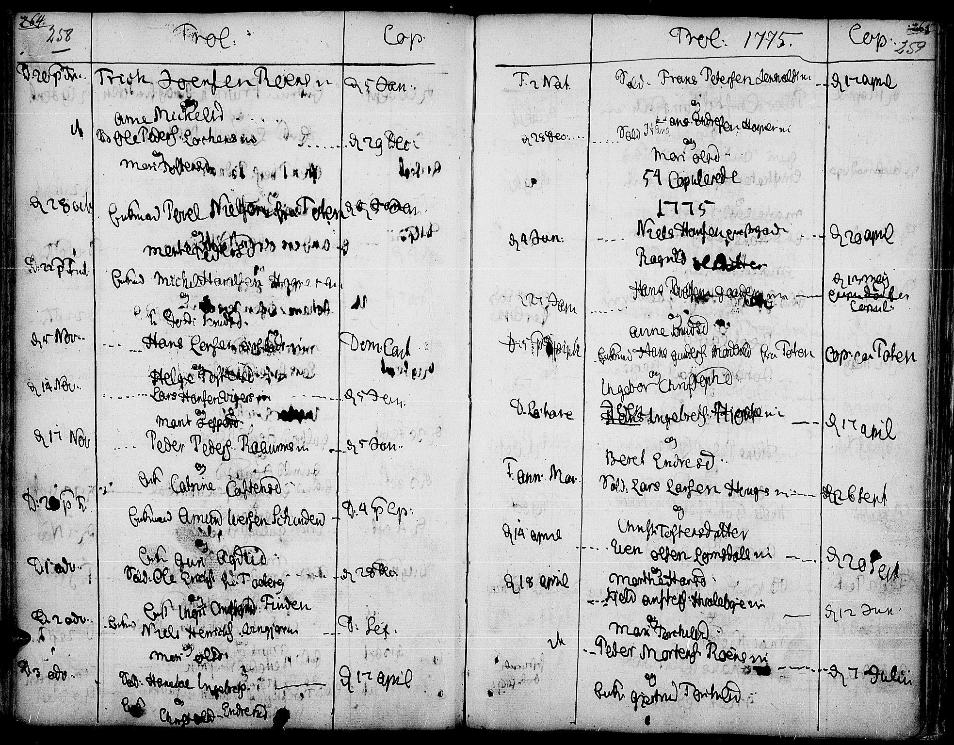 SAH, Land prestekontor, Ministerialbok nr. 5, 1765-1784, s. 258-259