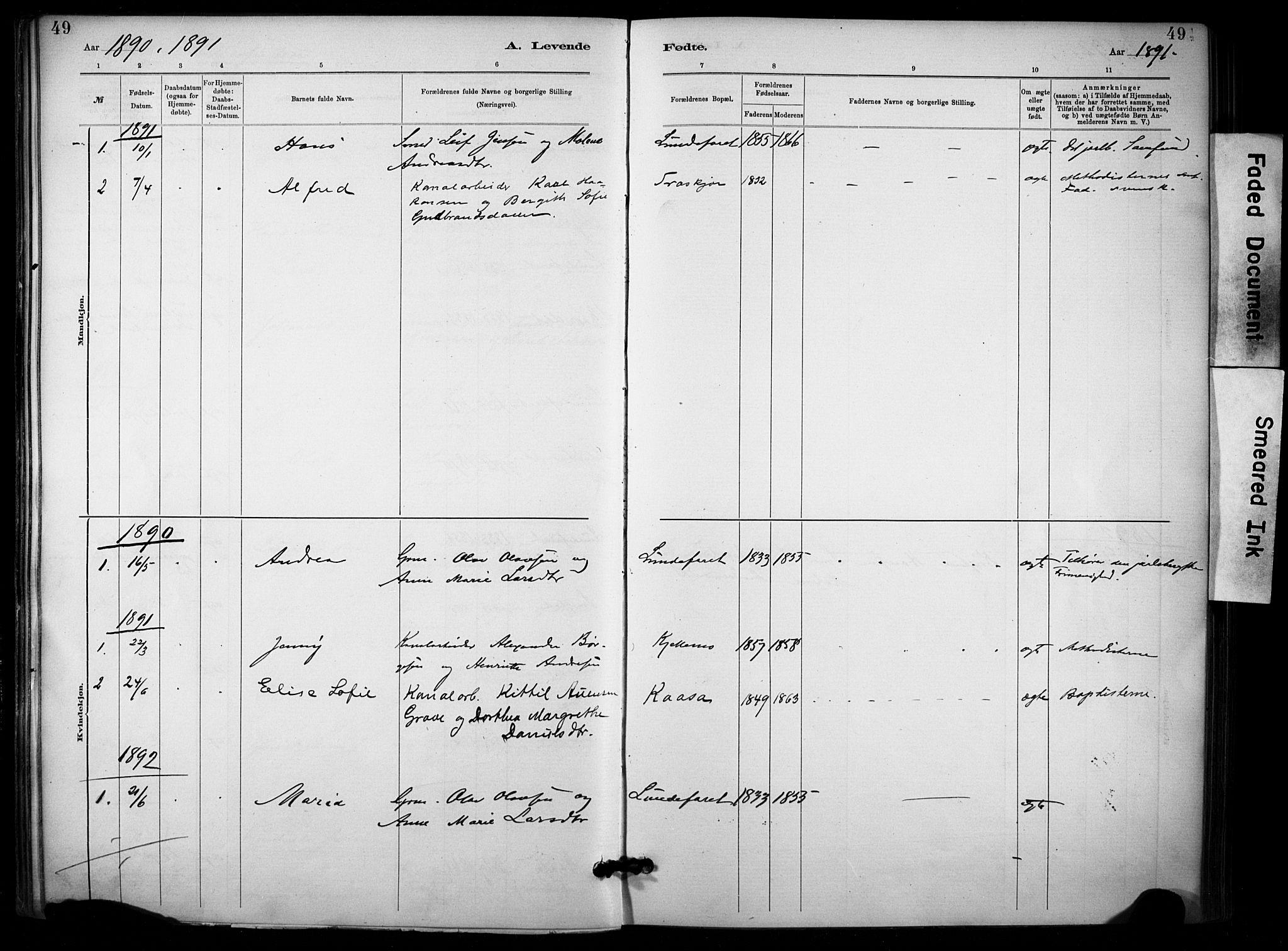 SAKO, Lunde kirkebøker, F/Fa/L0002: Ministerialbok nr. I 2, 1884-1892, s. 49