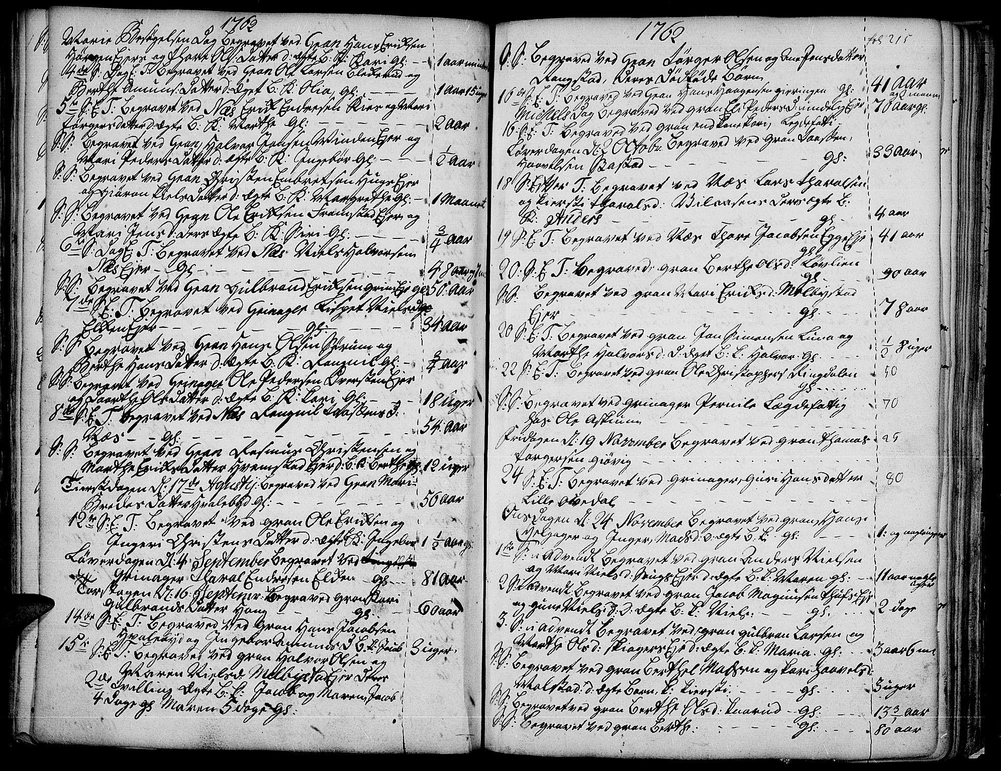 SAH, Gran prestekontor, Ministerialbok nr. 4, 1759-1775, s. 215