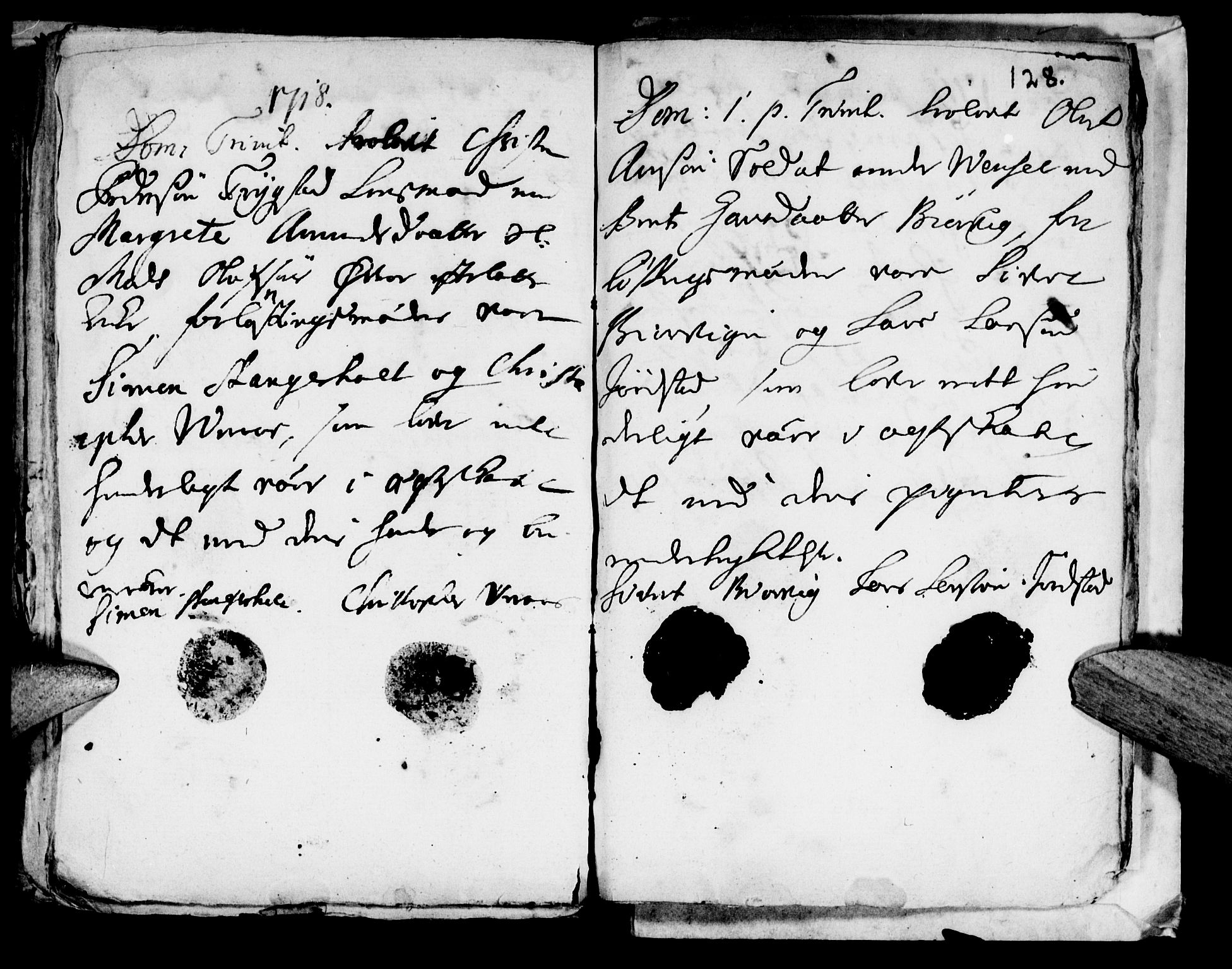 SAT, Ministerialprotokoller, klokkerbøker og fødselsregistre - Nord-Trøndelag, 722/L0214: Ministerialbok nr. 722A01, 1692-1718, s. 128