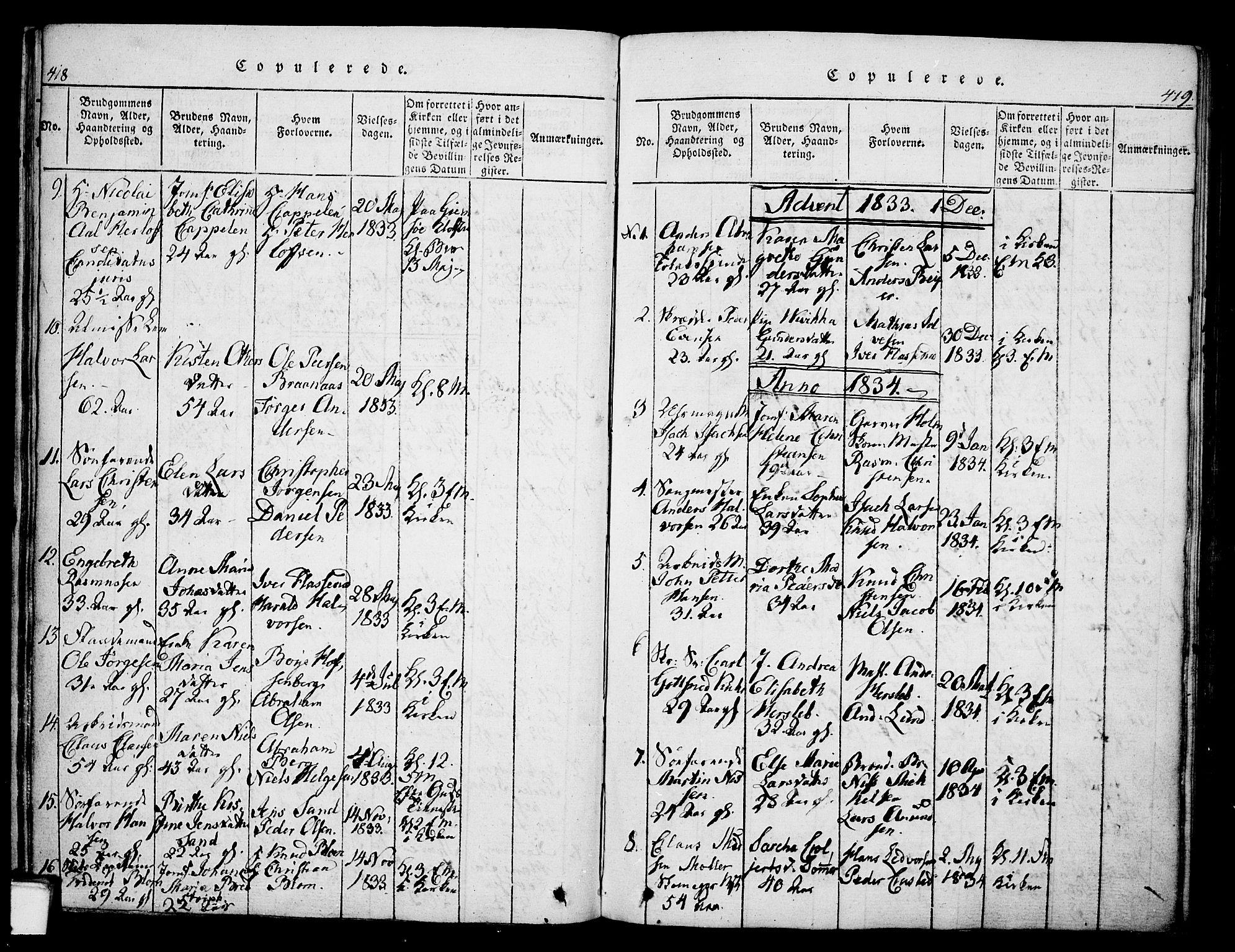 SAKO, Skien kirkebøker, G/Ga/L0002: Klokkerbok nr. 2, 1814-1842, s. 418-419