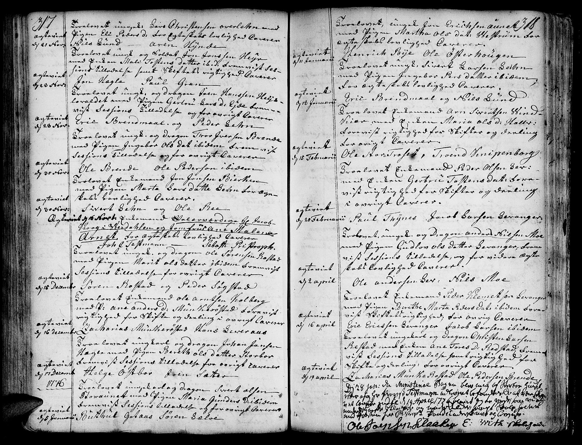 SAT, Ministerialprotokoller, klokkerbøker og fødselsregistre - Nord-Trøndelag, 717/L0141: Ministerialbok nr. 717A01, 1747-1803, s. 317-318
