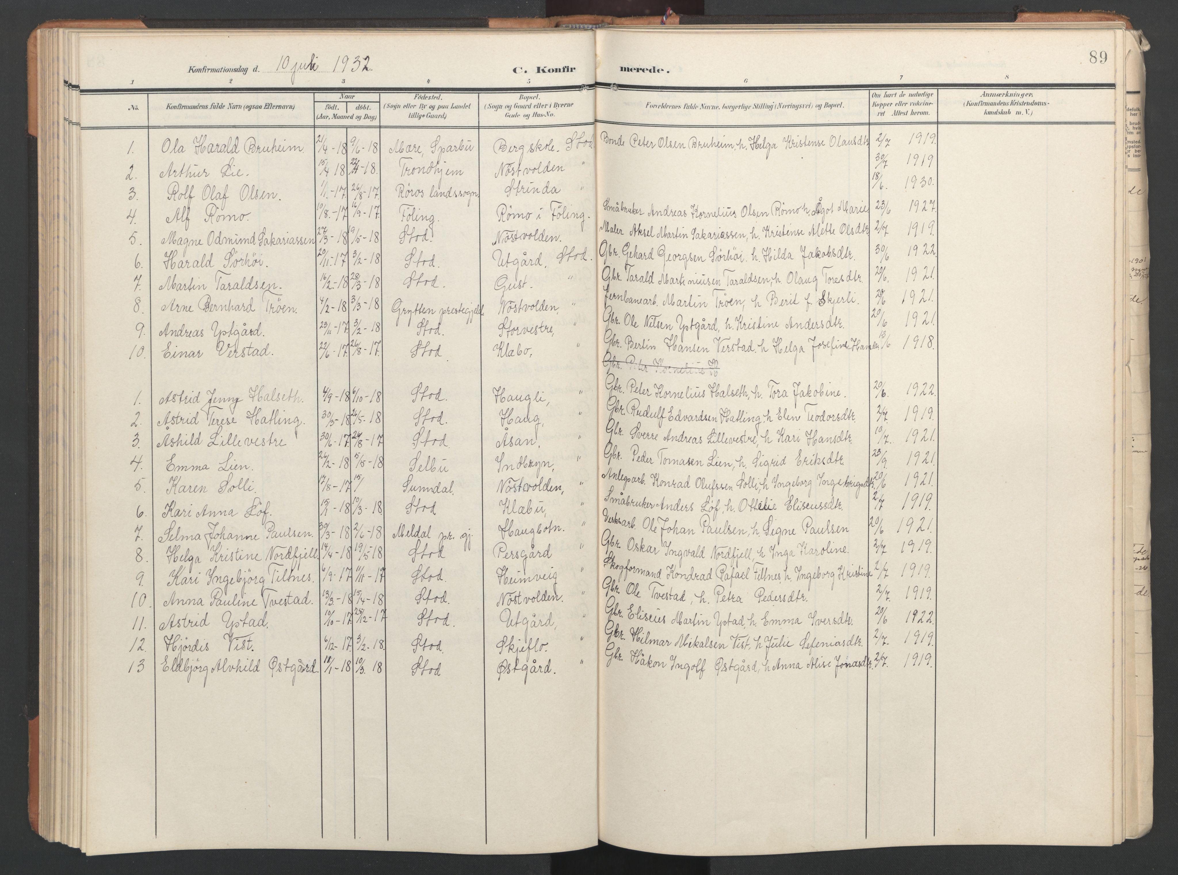 SAT, Ministerialprotokoller, klokkerbøker og fødselsregistre - Nord-Trøndelag, 746/L0455: Klokkerbok nr. 746C01, 1908-1933, s. 89