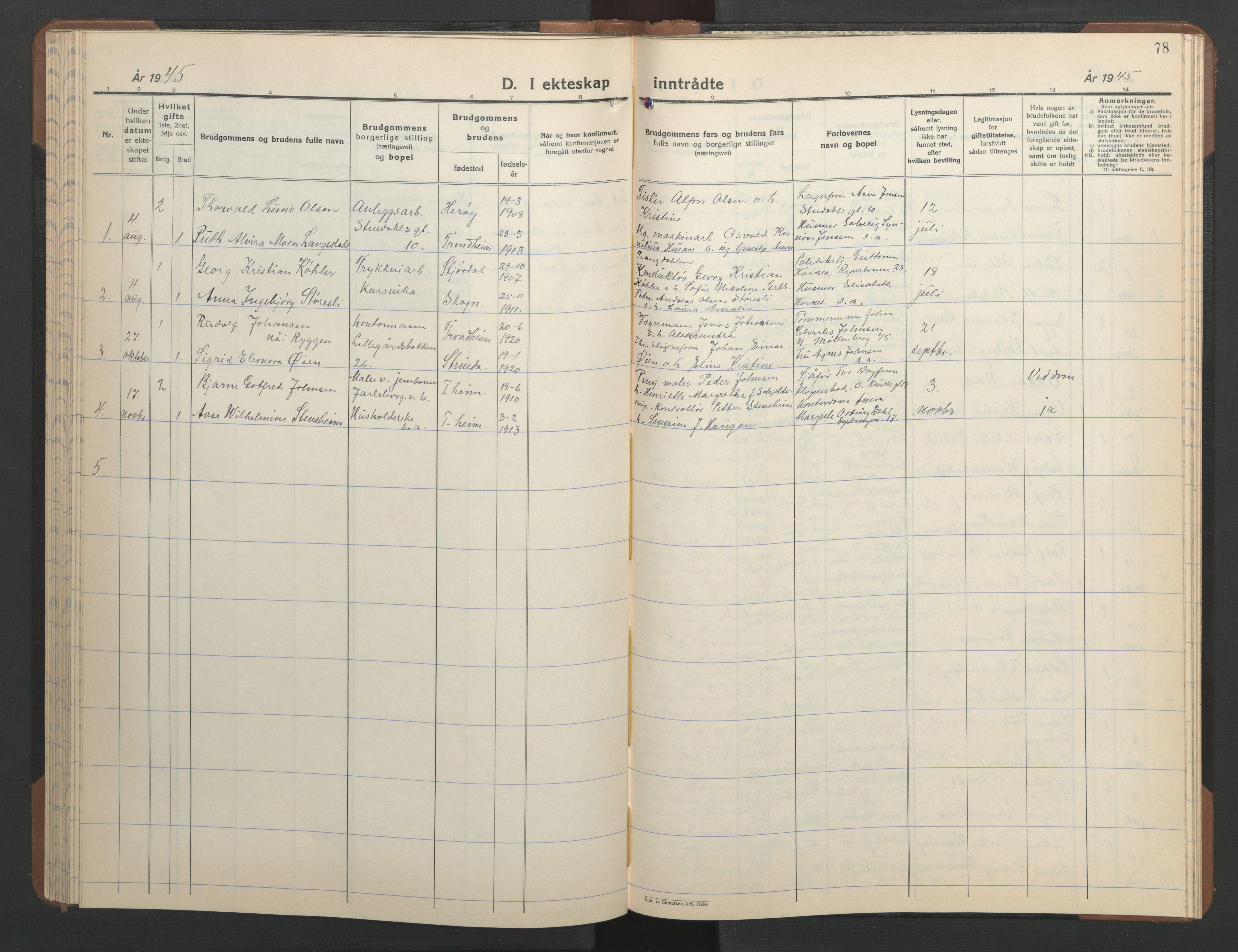 SAT, Ministerialprotokoller, klokkerbøker og fødselsregistre - Sør-Trøndelag, 606/L0315: Klokkerbok nr. 606C11, 1938-1947, s. 78