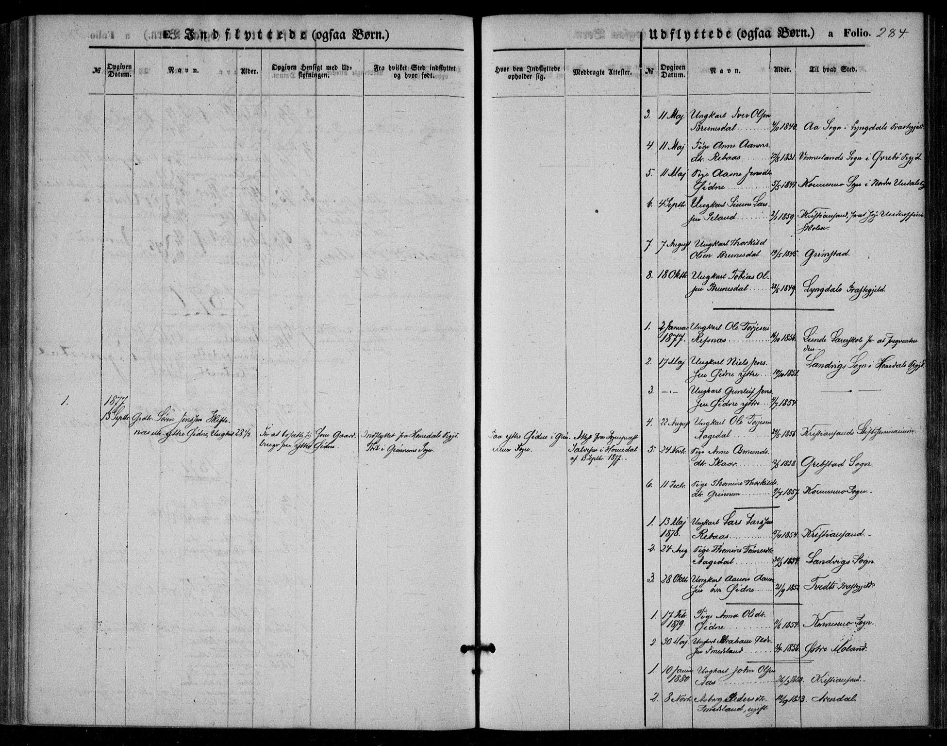 SAK, Bjelland sokneprestkontor, F/Fa/Fac/L0002: Ministerialbok nr. A 2, 1866-1887, s. 284
