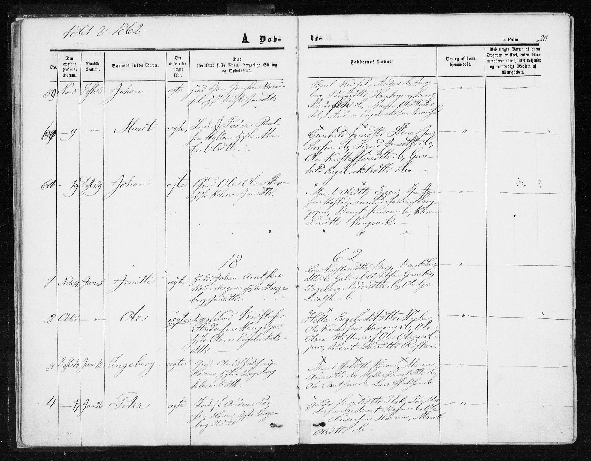 SAT, Ministerialprotokoller, klokkerbøker og fødselsregistre - Sør-Trøndelag, 612/L0377: Ministerialbok nr. 612A09, 1859-1877, s. 20