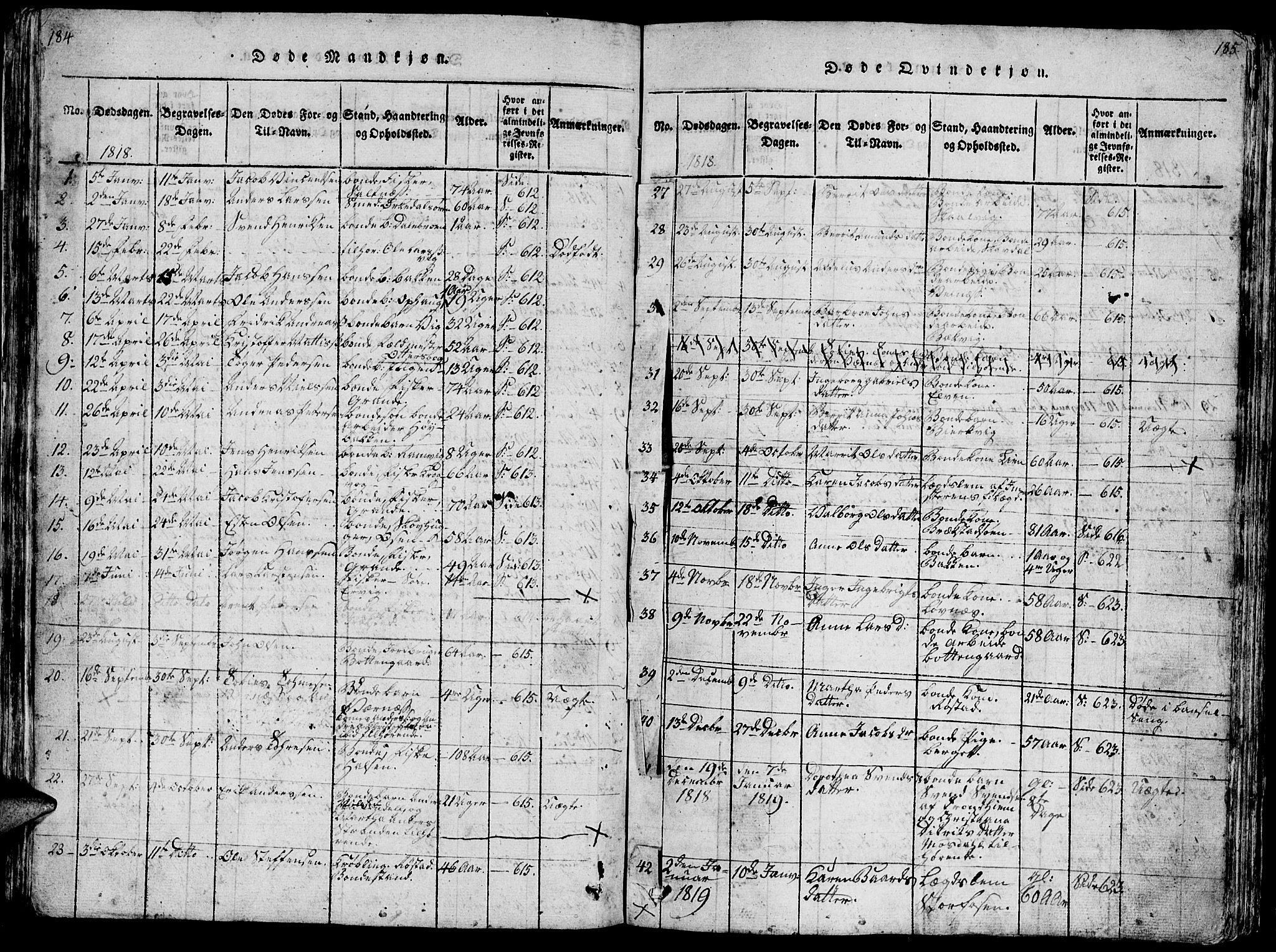 SAT, Ministerialprotokoller, klokkerbøker og fødselsregistre - Sør-Trøndelag, 659/L0744: Klokkerbok nr. 659C01, 1818-1825, s. 184-185
