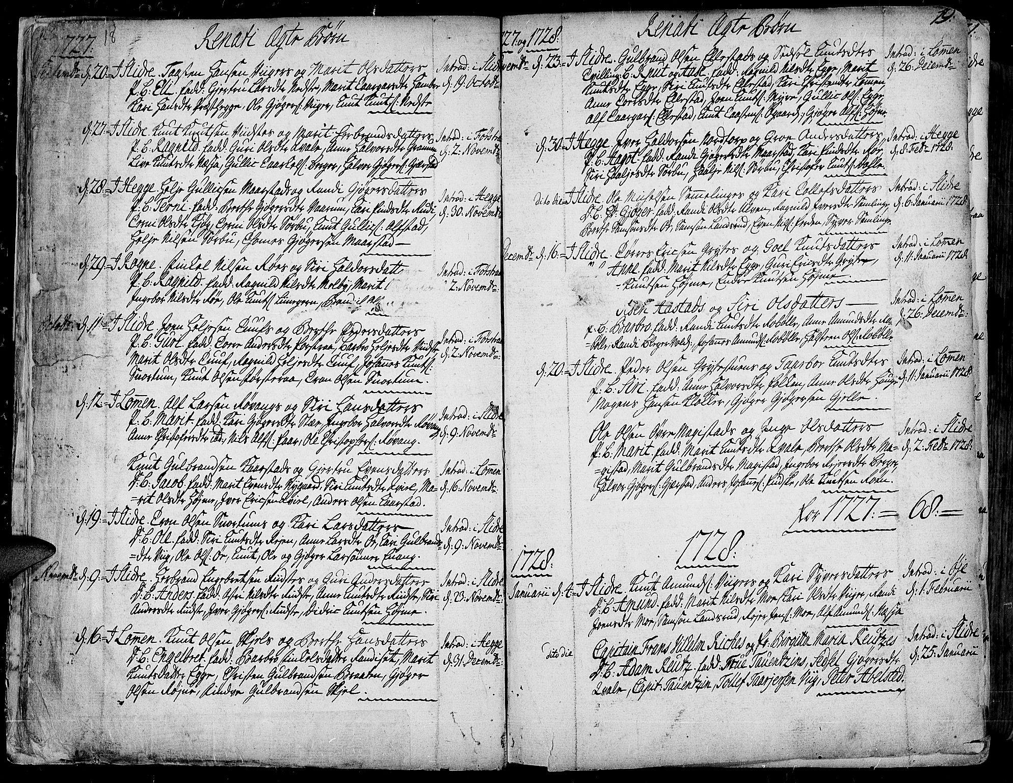 SAH, Slidre prestekontor, Ministerialbok nr. 1, 1724-1814, s. 18-19