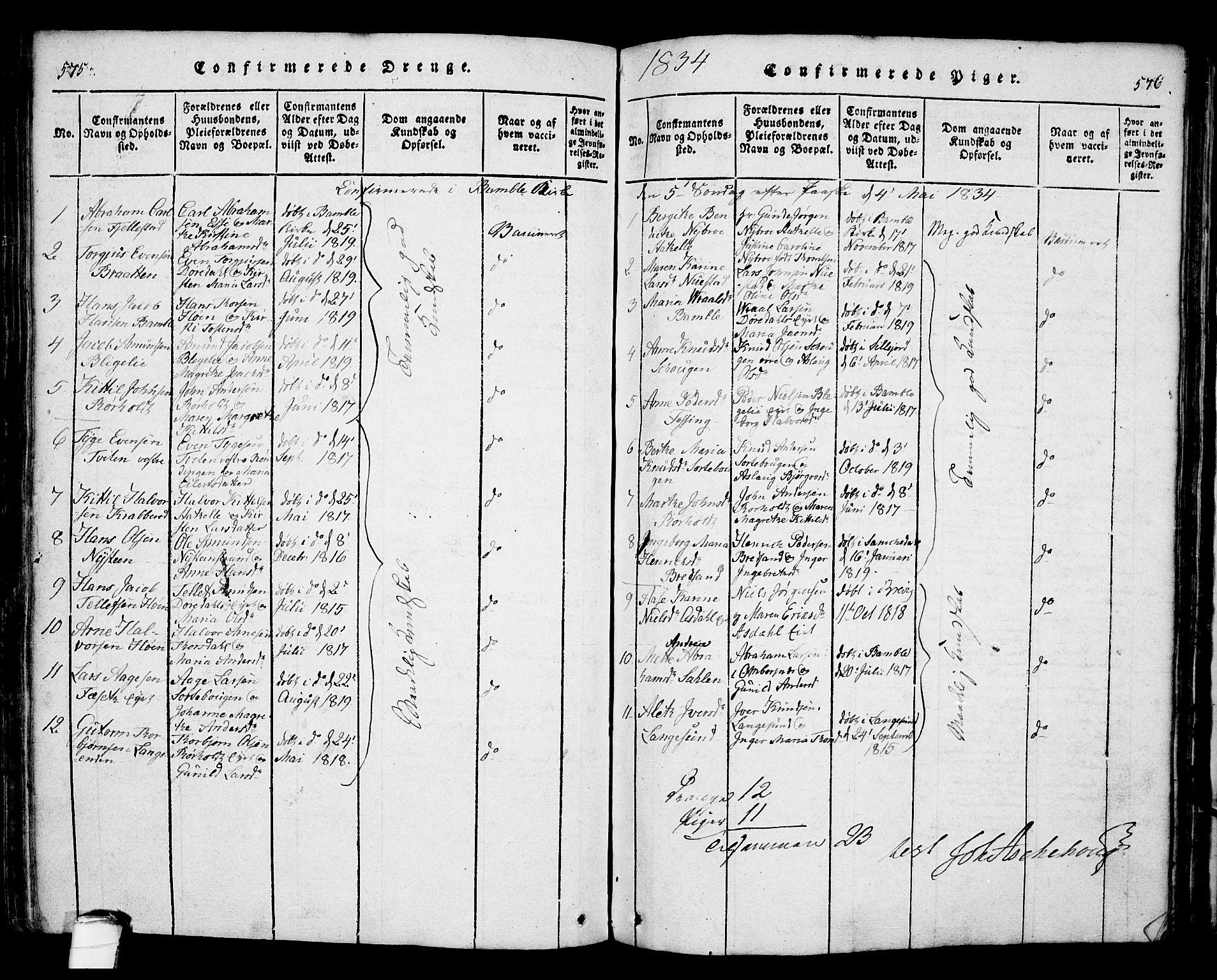 SAKO, Bamble kirkebøker, F/Fa/L0003: Ministerialbok nr. I 3 /1, 1814-1834, s. 575-576
