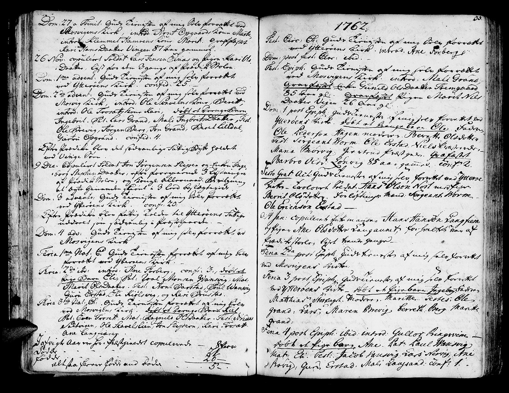 SAT, Ministerialprotokoller, klokkerbøker og fødselsregistre - Nord-Trøndelag, 722/L0216: Ministerialbok nr. 722A03, 1756-1816, s. 33