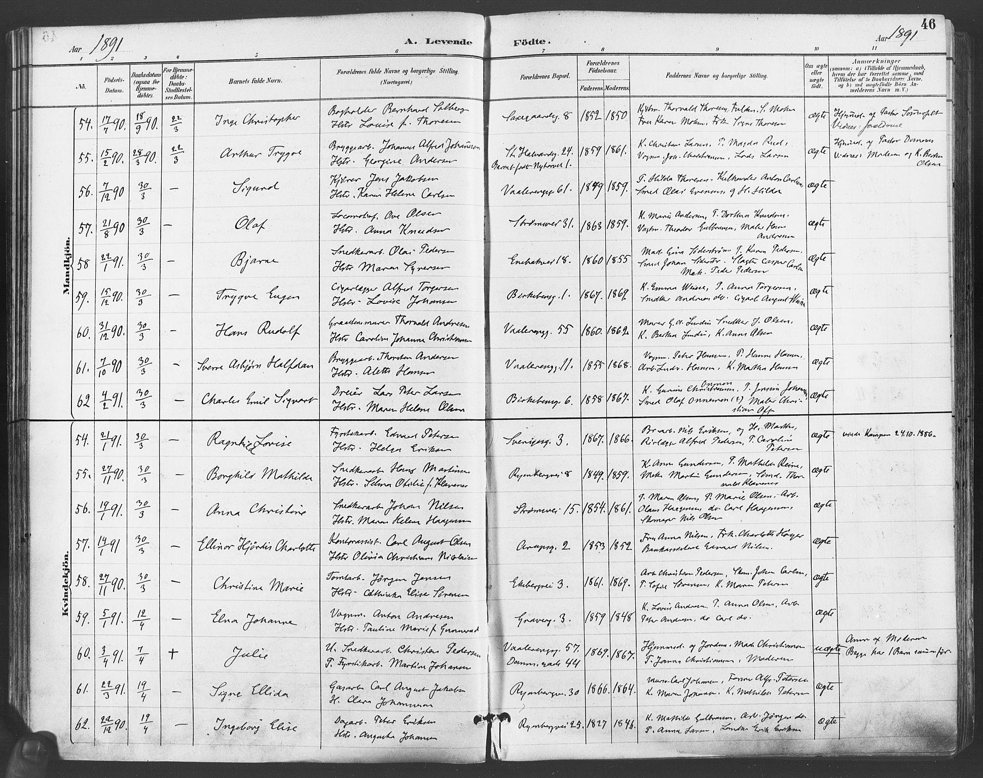 SAO, Gamlebyen prestekontor Kirkebøker, F/Fa/L0007: Ministerialbok nr. 7, 1889-1899, s. 46